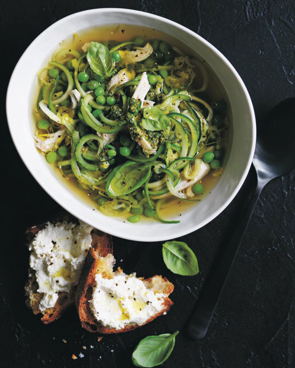 Chicken and zucchini noodle soup