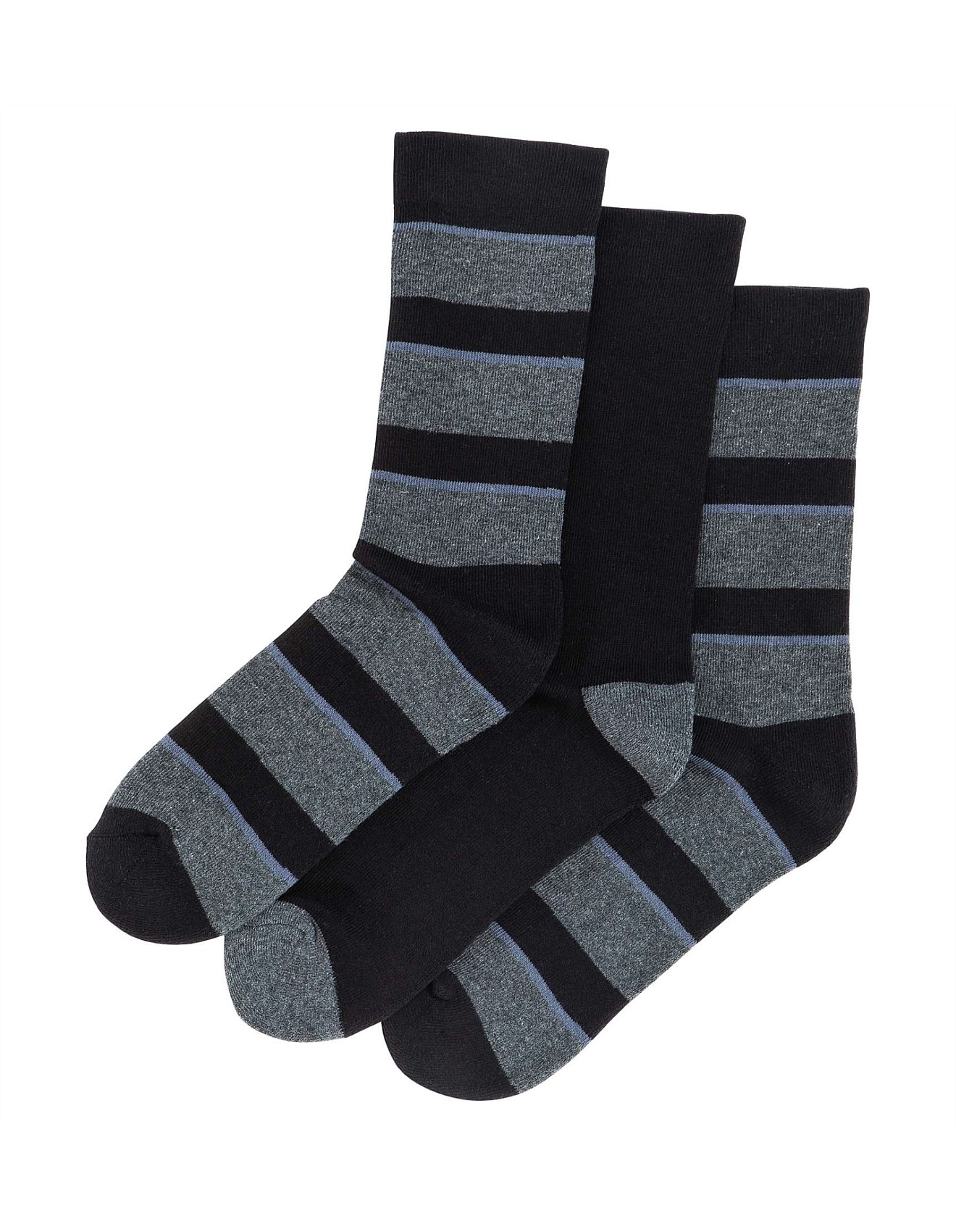 d599b8bdc7 Thick Bold Stripe Comfort Crew Socks 3 Pack