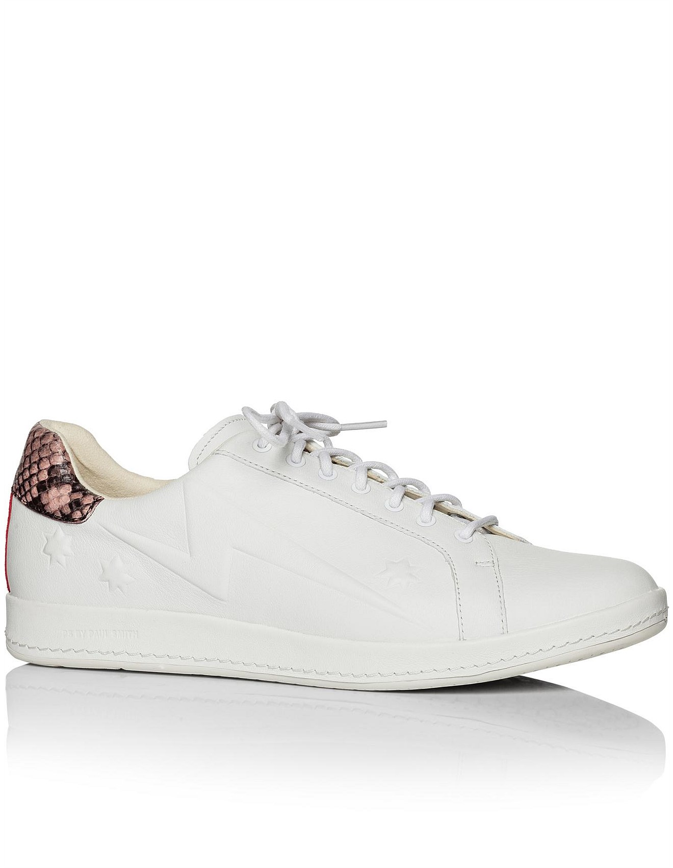 971728ee363 Ps By Paul Smith Lapin White Trainer With Snake Heel Trim