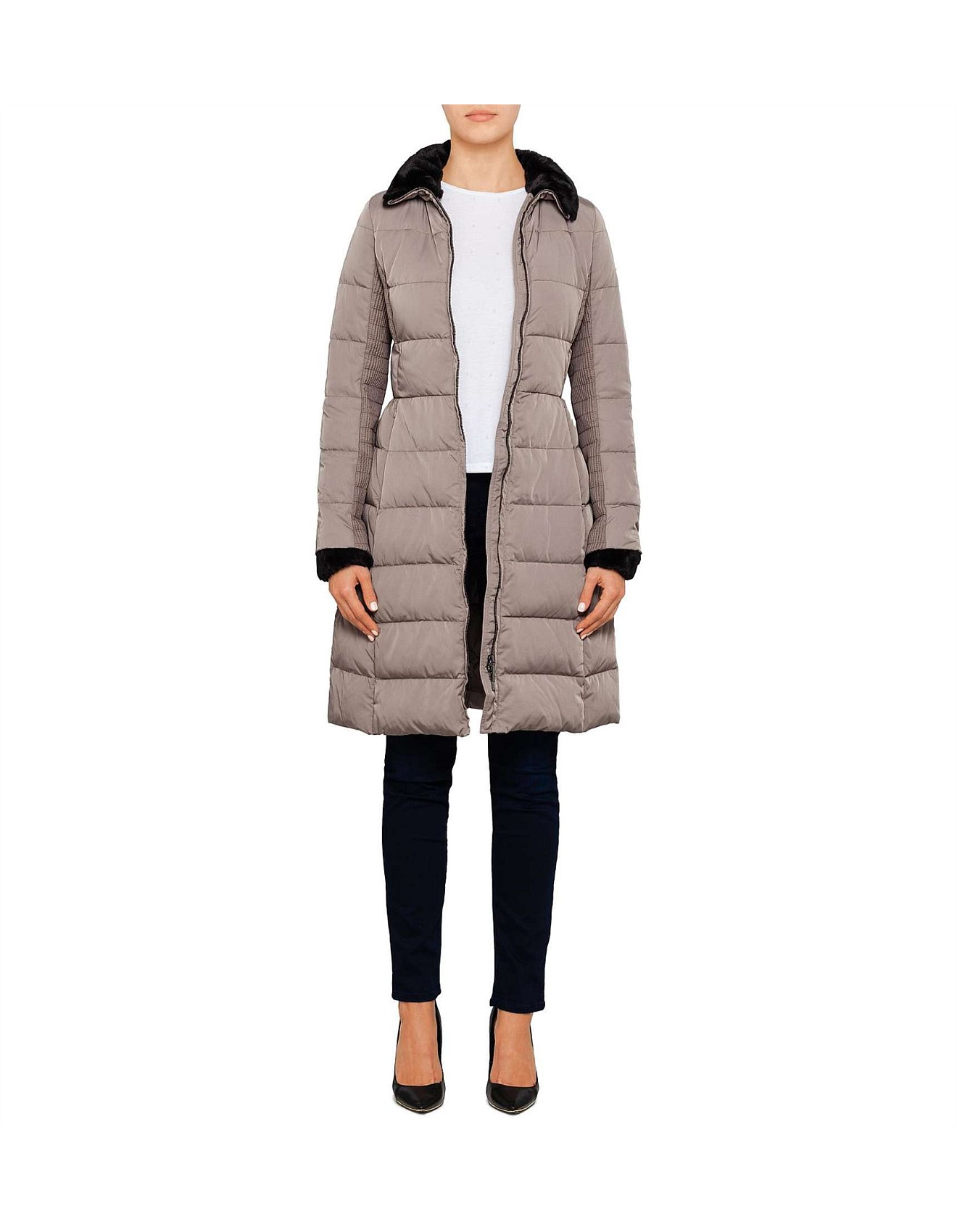 15e3f7d88c Long Quilted Coat With Contrast Collar