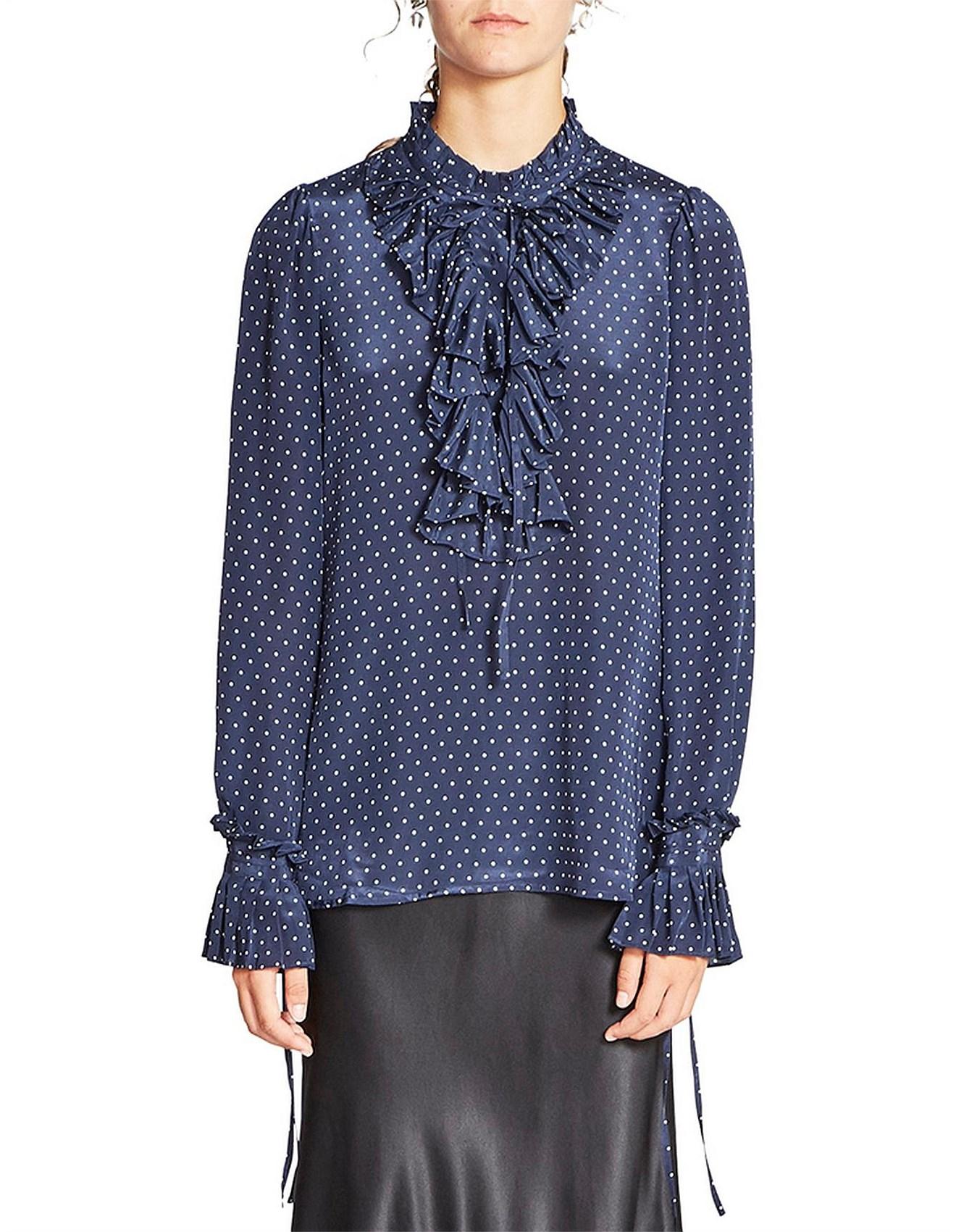 d2bb413229bb9d Tops, Tees & T-Shirts - Queenie Silk Ruffle Front Long Sleeve Top