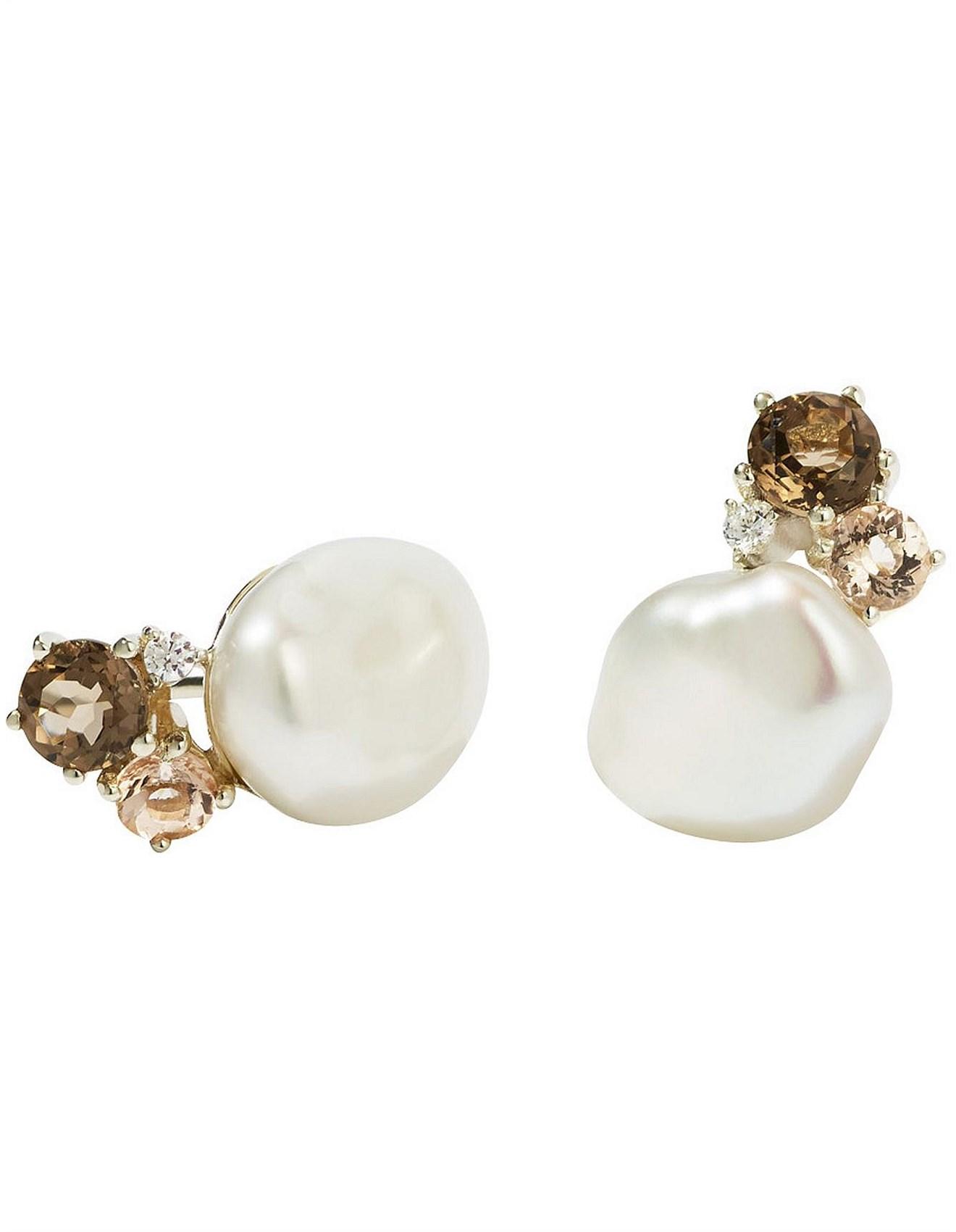 Baroque Stud Earrings Smoky Quartz White Diamond