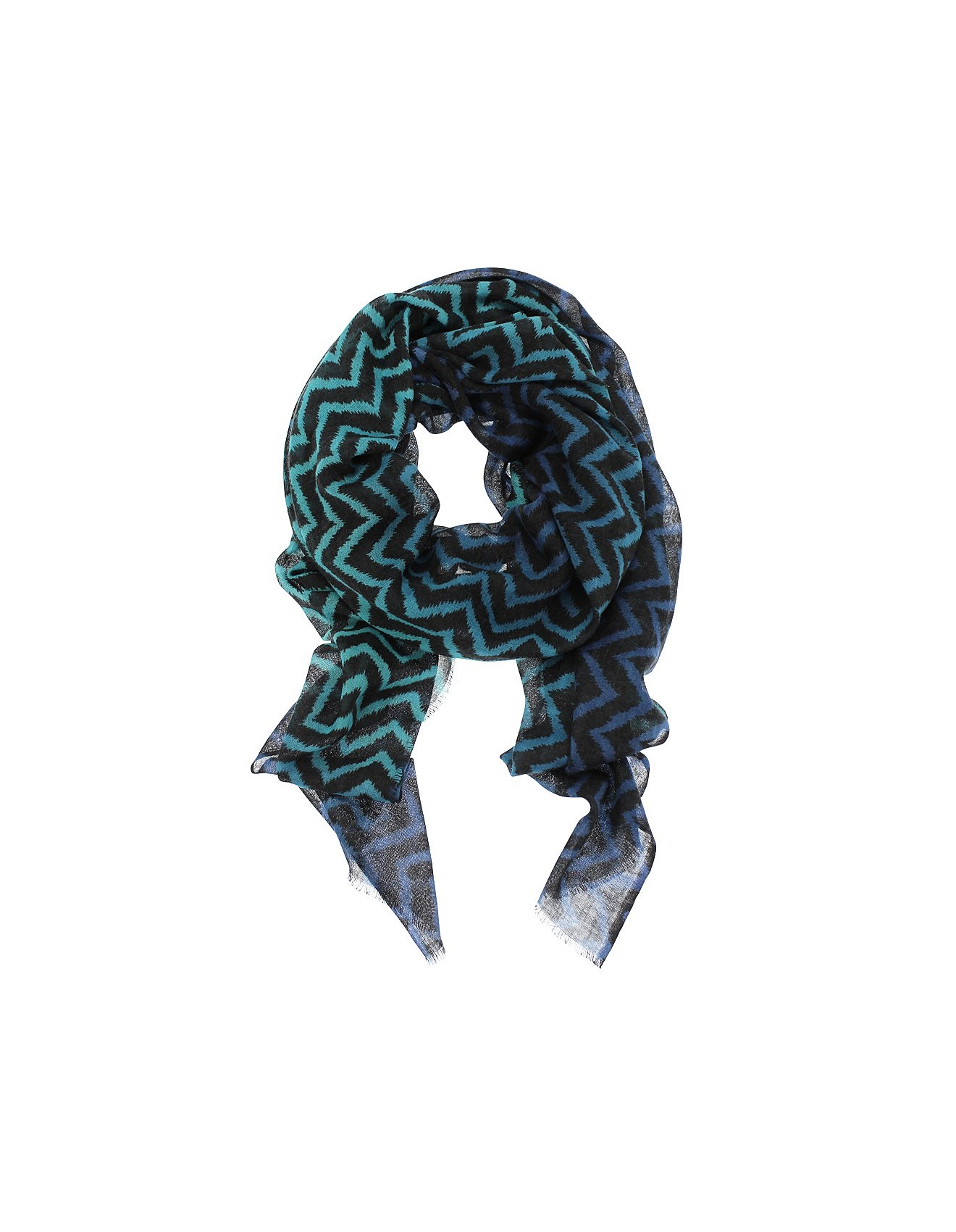 439ee60cf Women's Scarves & Wraps   Cashmere & Silk Scarves   David Jones - Harlow Zig  Zag Print Wool/Silk Scarf