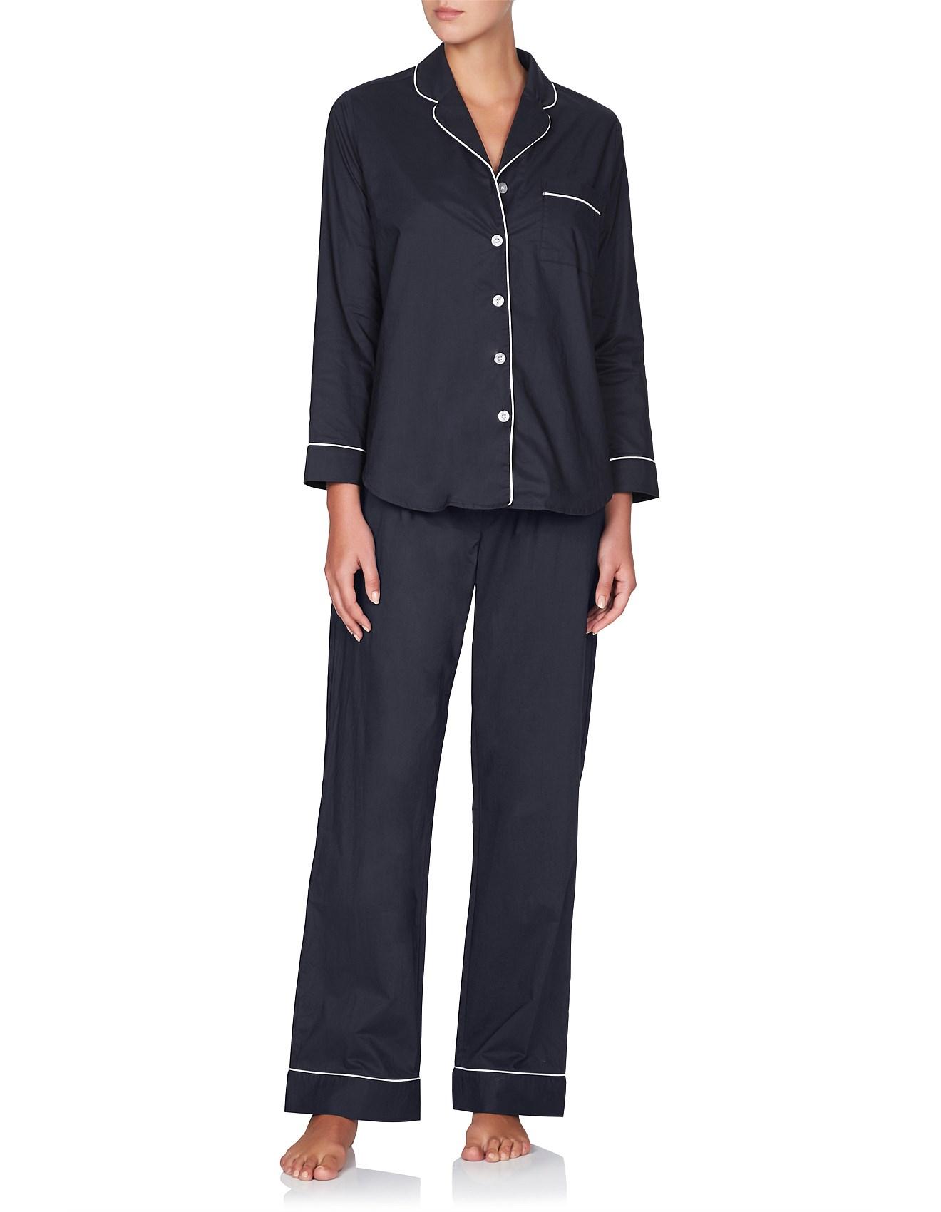 Good Sleep Guide - Long Sleeve Cotton PJ Set With Contrast Piping b54edac31
