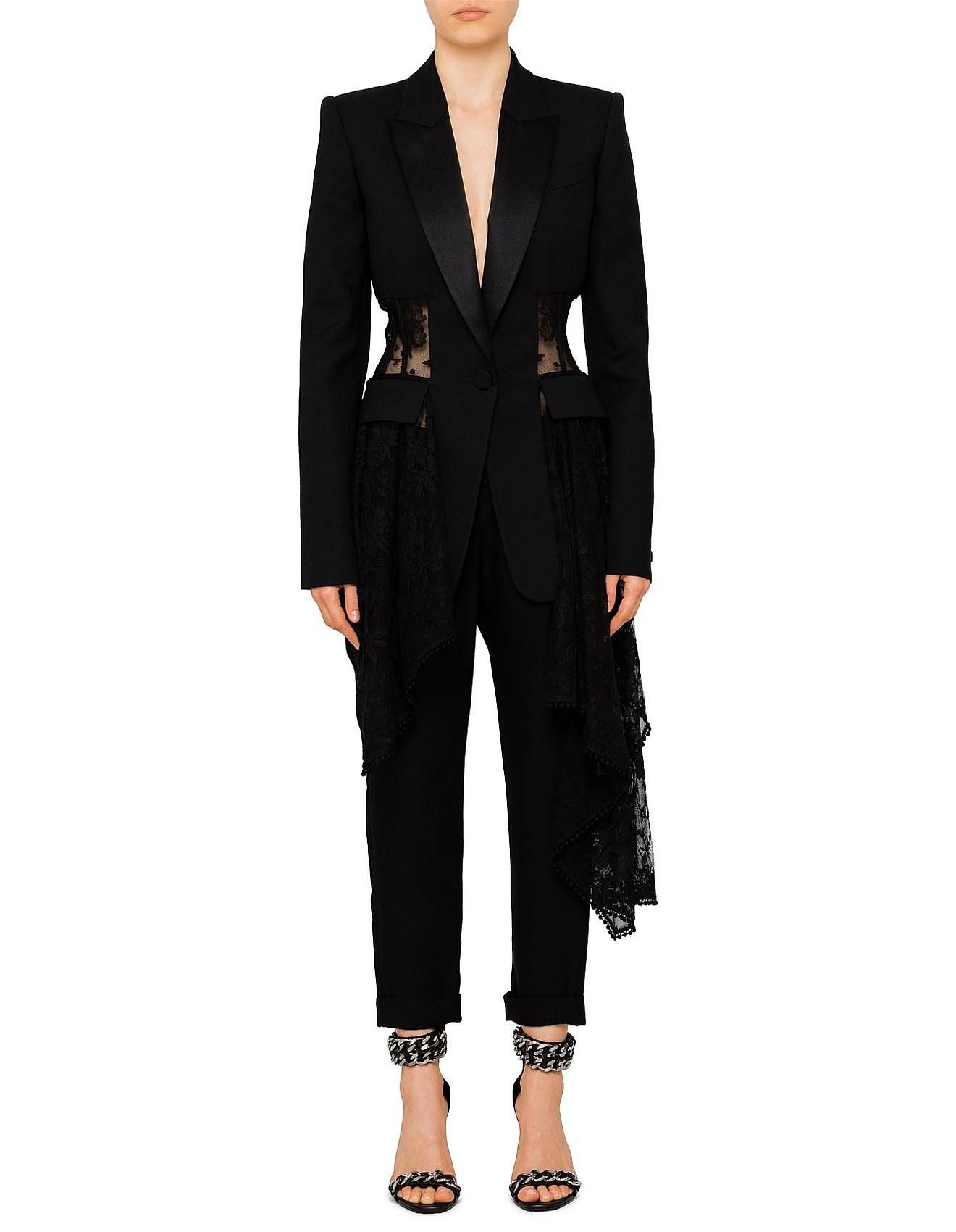 ef614aca9f Light Wool Lace Drape Corset Blazer