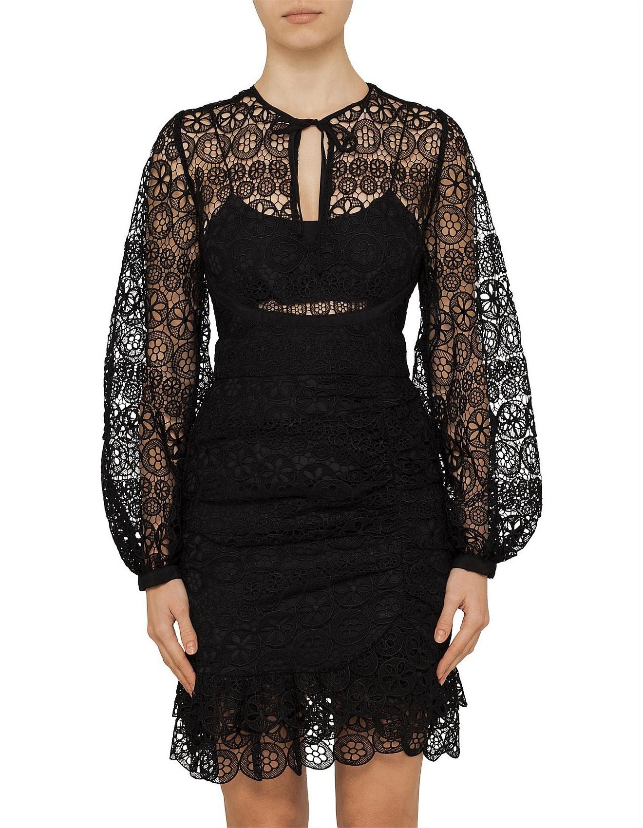 5b3a81ab447 Women Spring Racing - Black Circle Floral Long Sleeve Lace Mini Dress