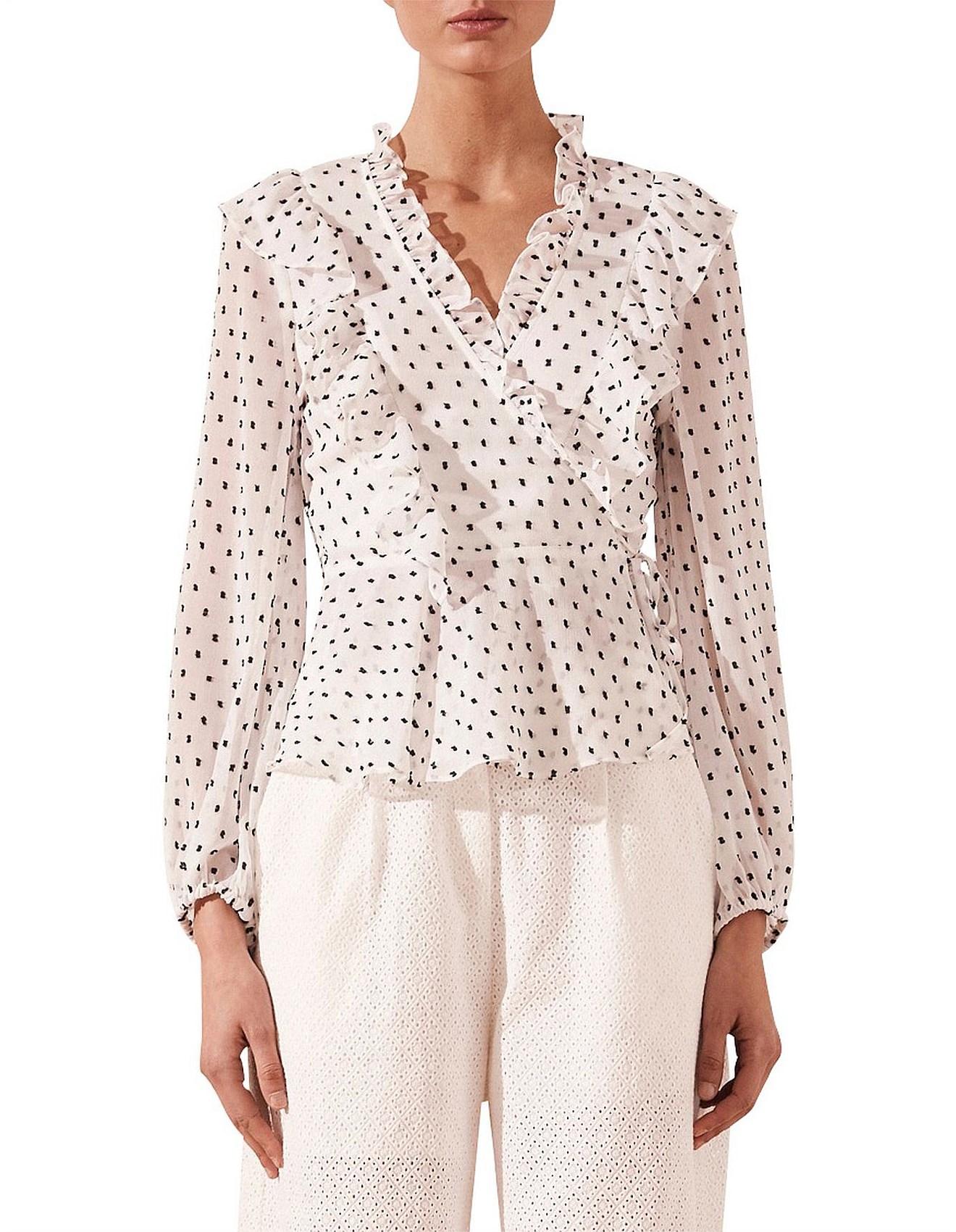 10916dd7204770 Tops, Tees & T-Shirts - Wilder Ruffle Wrap Blouse