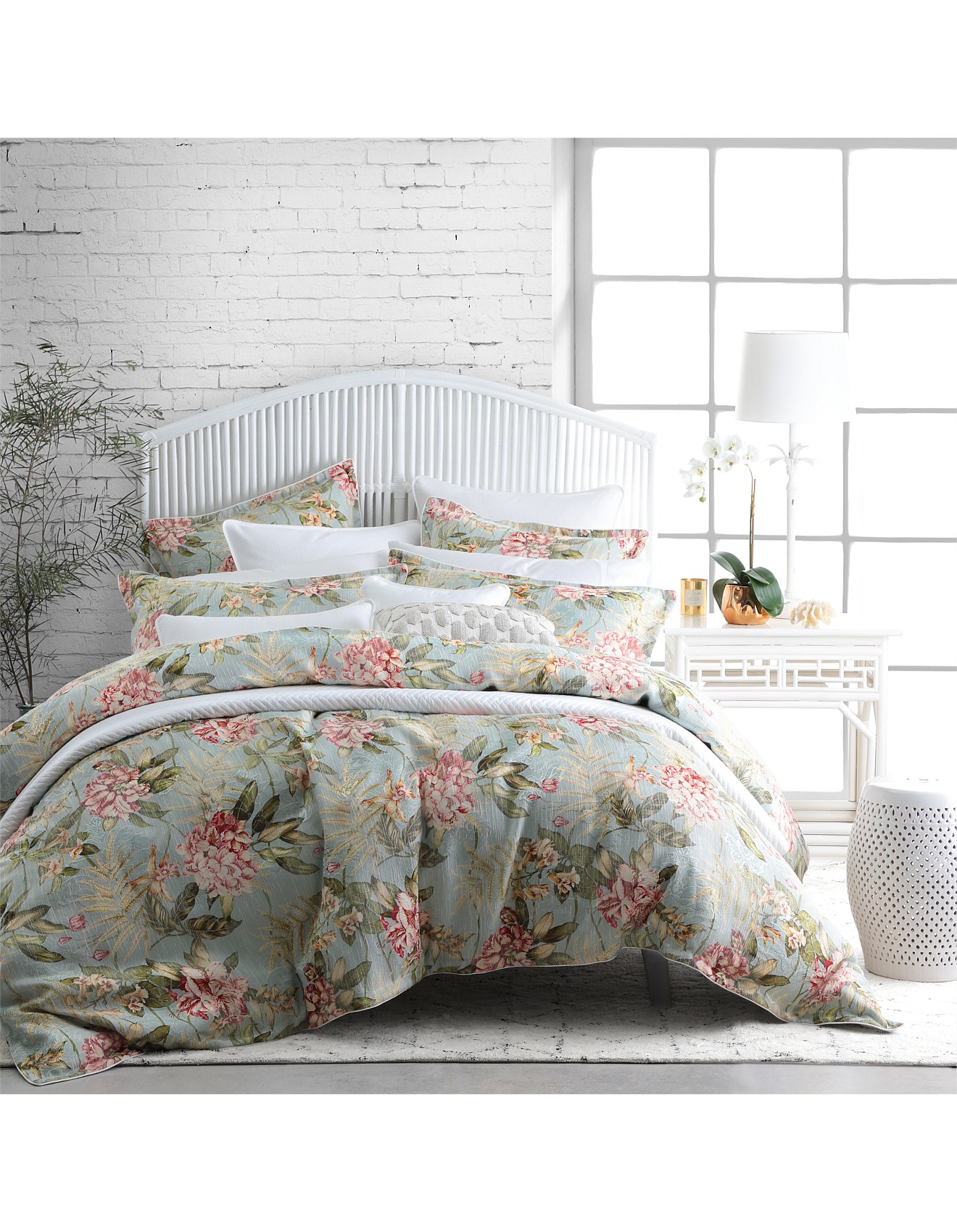 Bed and bath buy bedding quilts more david jones leura mist quilt cover set king bed