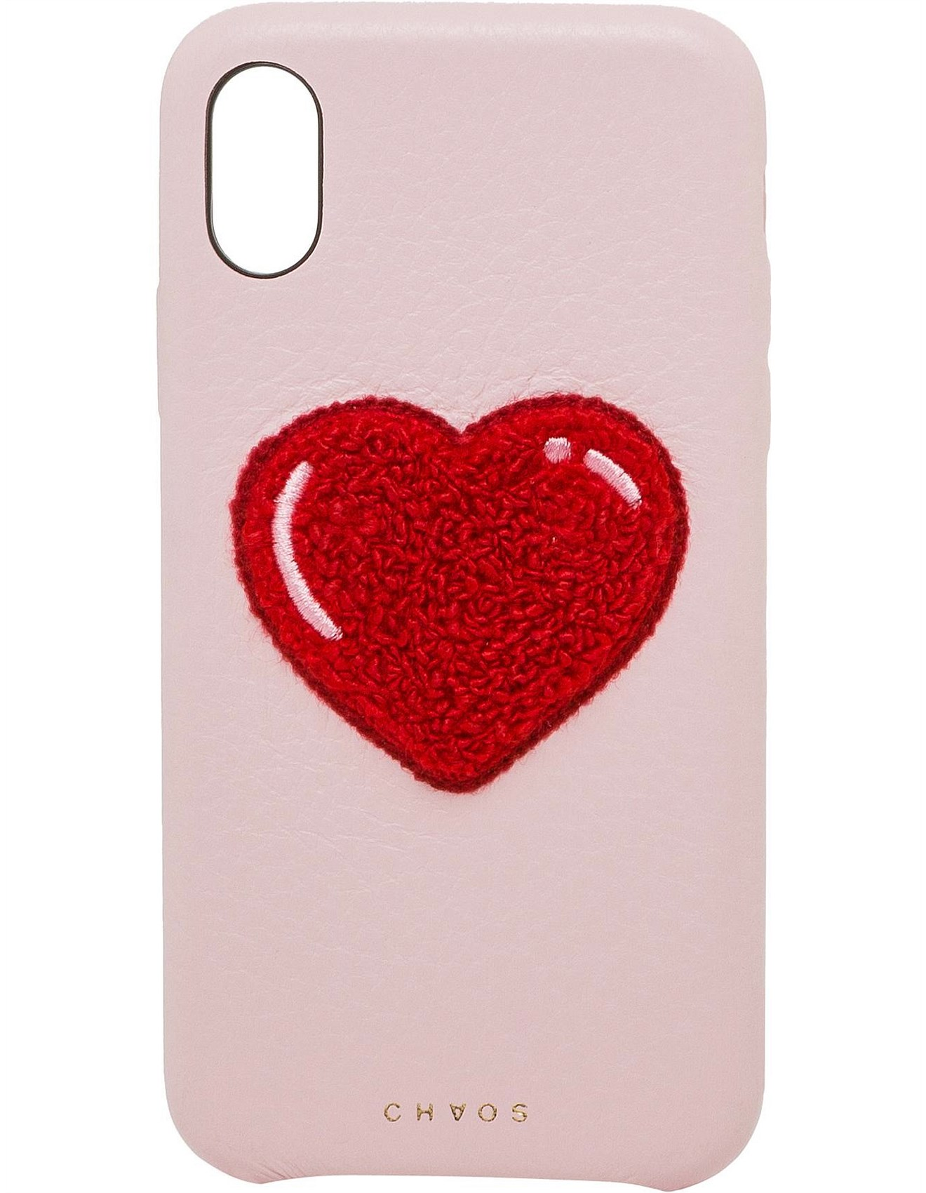 Leather Heart Chenille Iphone X Case
