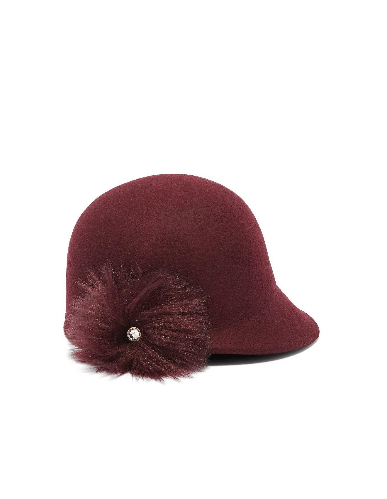 758f6d2b43d FAUX FUR POM POM FELT HAT