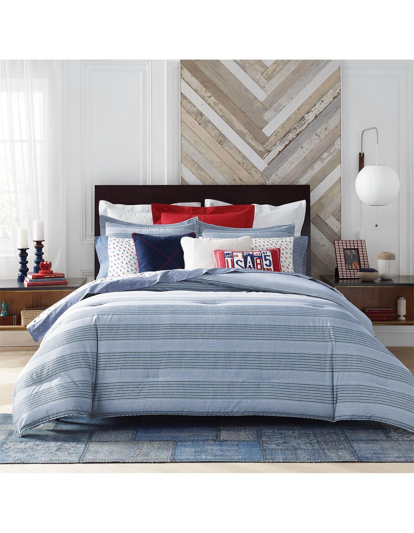 William Stripe Quilt Cover Set Single Bed 1 Zoom Tommy Hilfiger