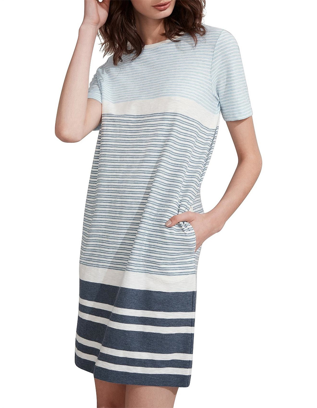 153ffe3d Day Dresses | Buy Casual Summer Dresses Online | David Jones - Organic Cotton  Striped T-Shirt Dress