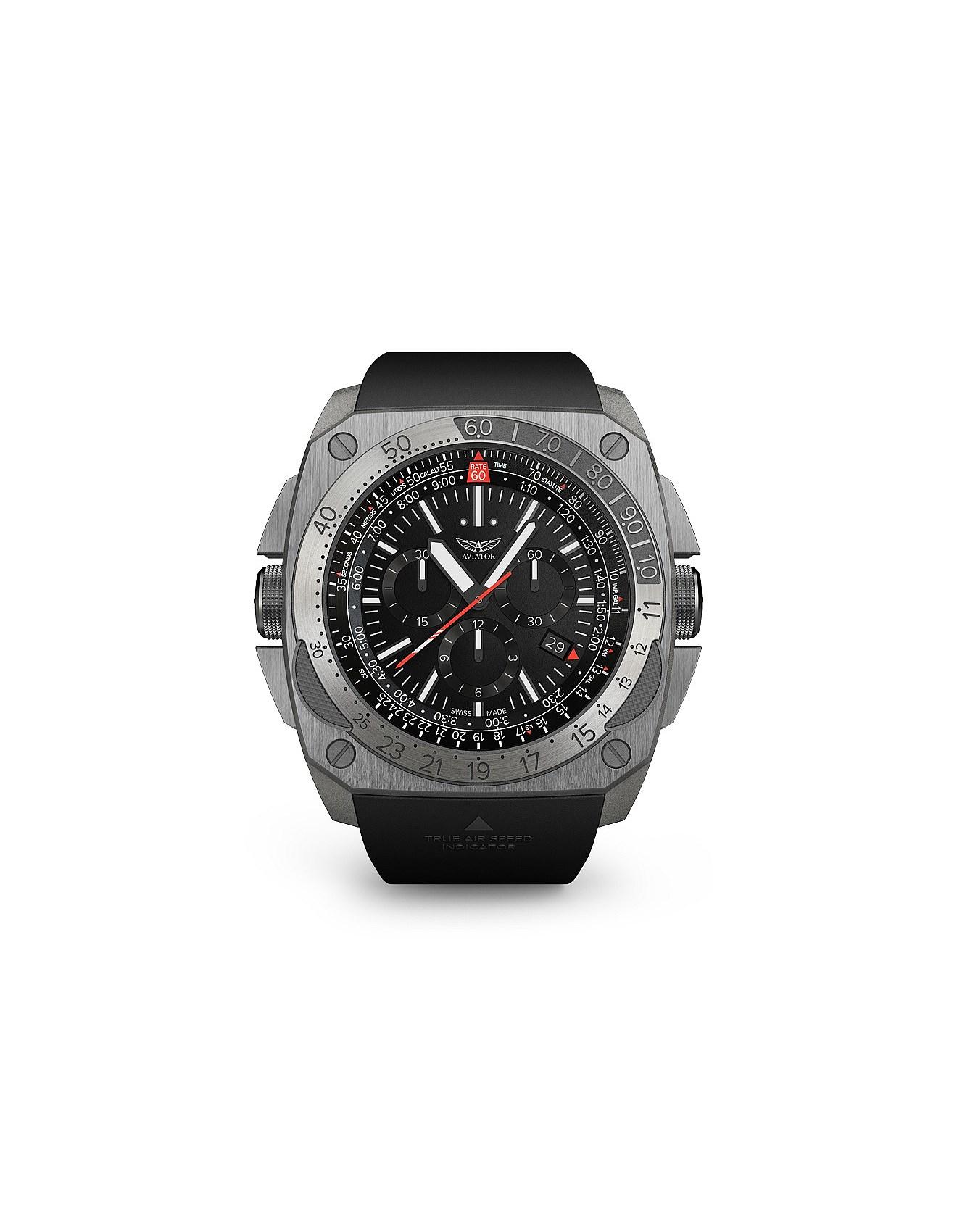 men 39 s watches buy designer watches online david jones aviator chronograph sandblasted watch