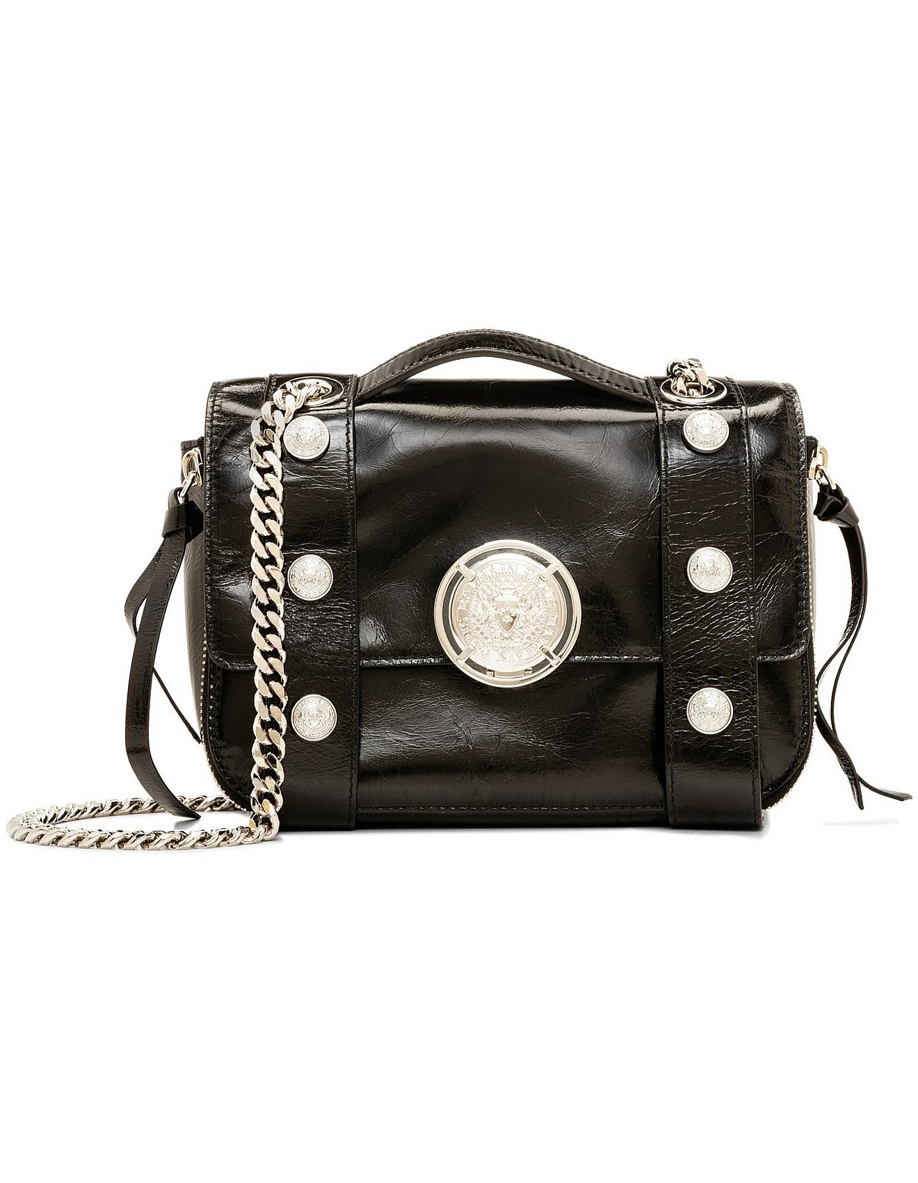 Flap Bag Bsoft 20 Shiny And Distressed Leather