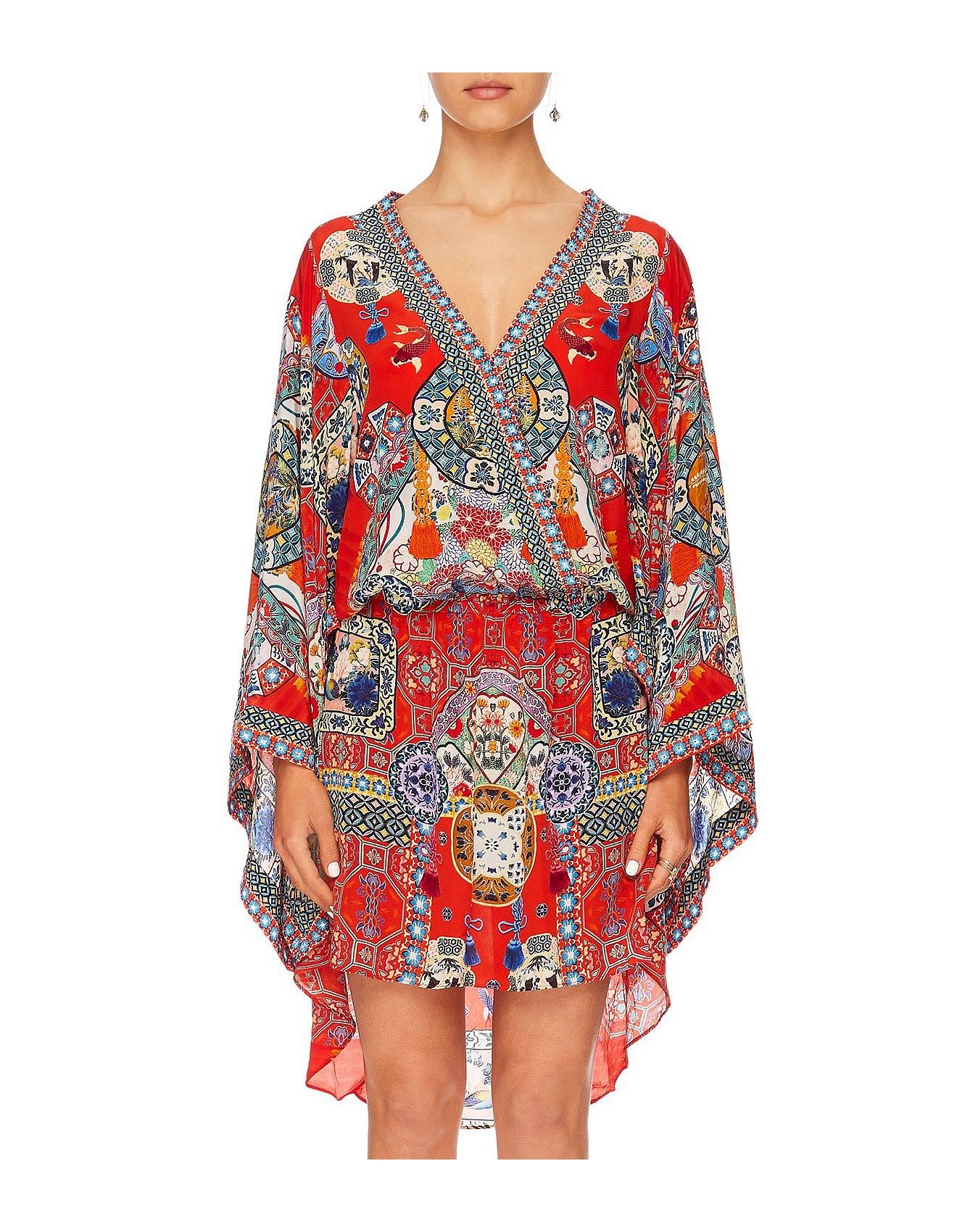 c5293f490815 Found in Translation V-Neck Kimono Dress W  Tie