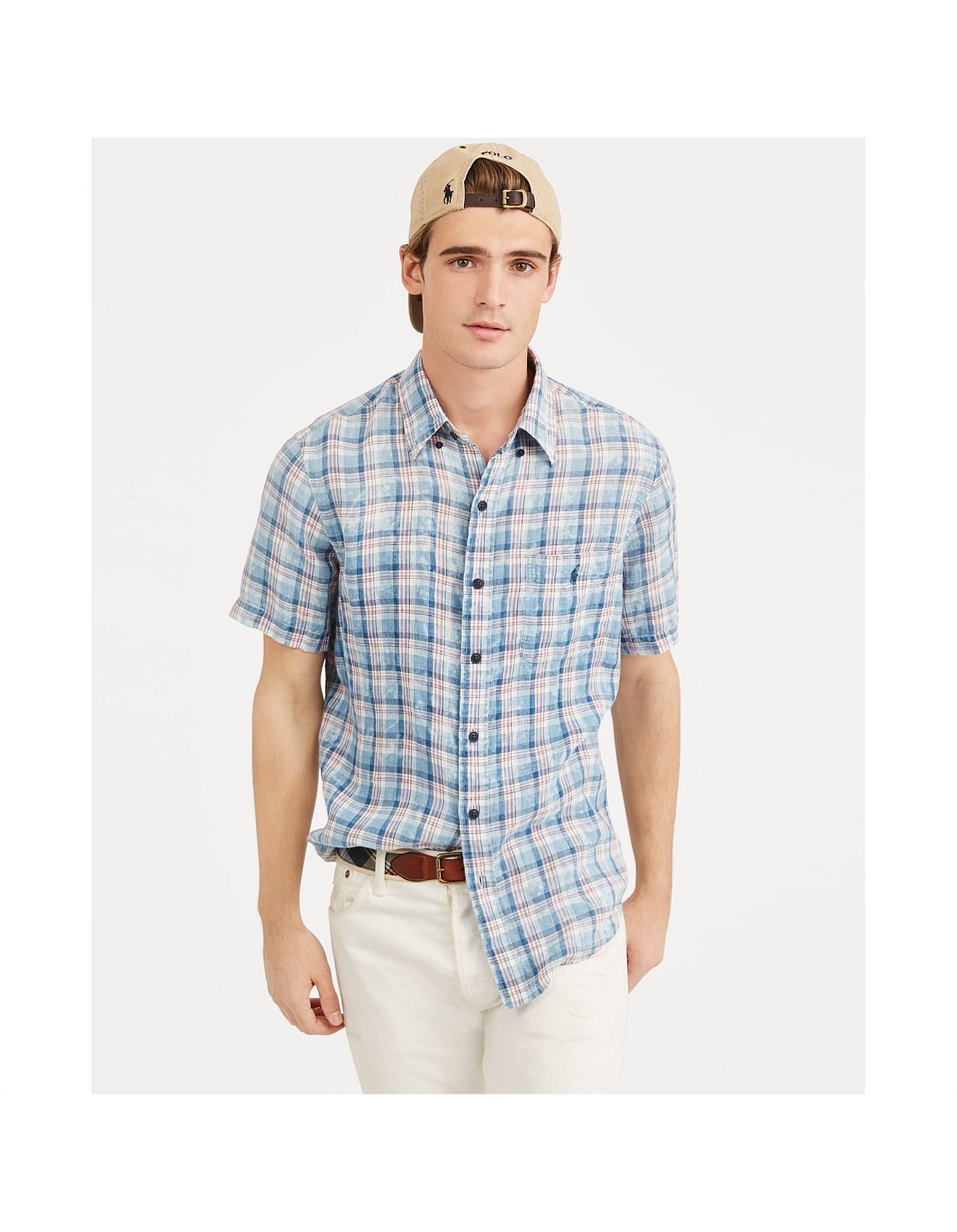d2bdddbd Mens Classic Fit Plaid Linen Shirt