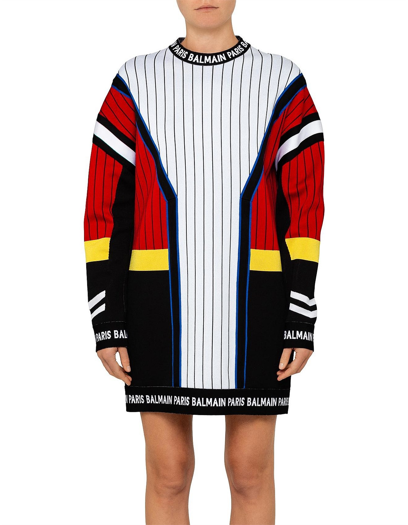 bb0c65cf Balmain | Buy Balmain Jeans & Clothing Online | David Jones - SHORT LONG  SLEEVE STRIPES JACQUARD SWEATER DRESS