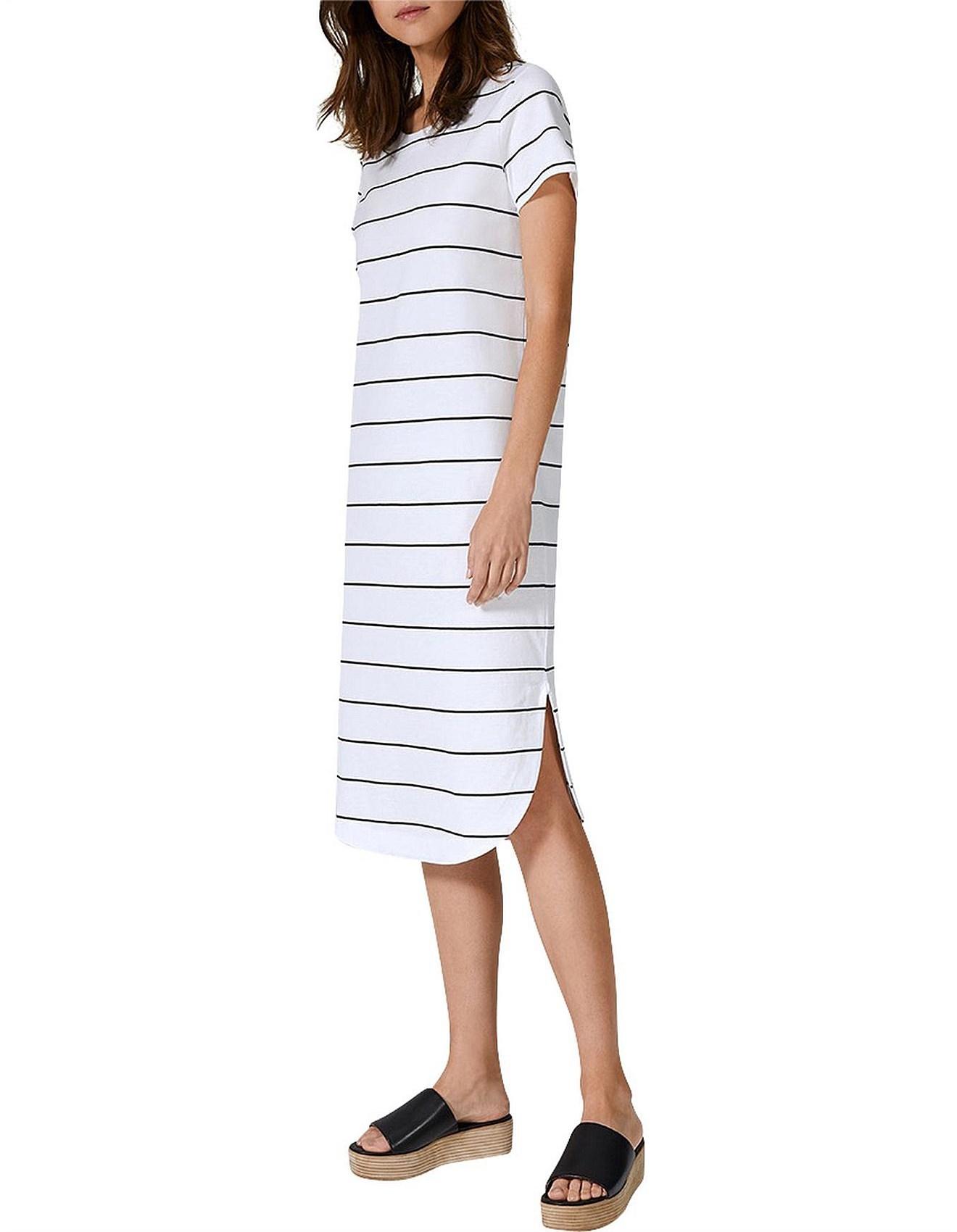 8d6761be67b Women - Curved Hem Stripe T-Shirt Dress