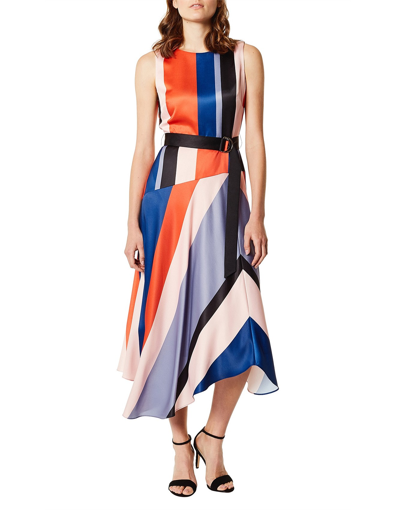 for whole family best place for offer ASYMMETRIC STRIPED DRESS