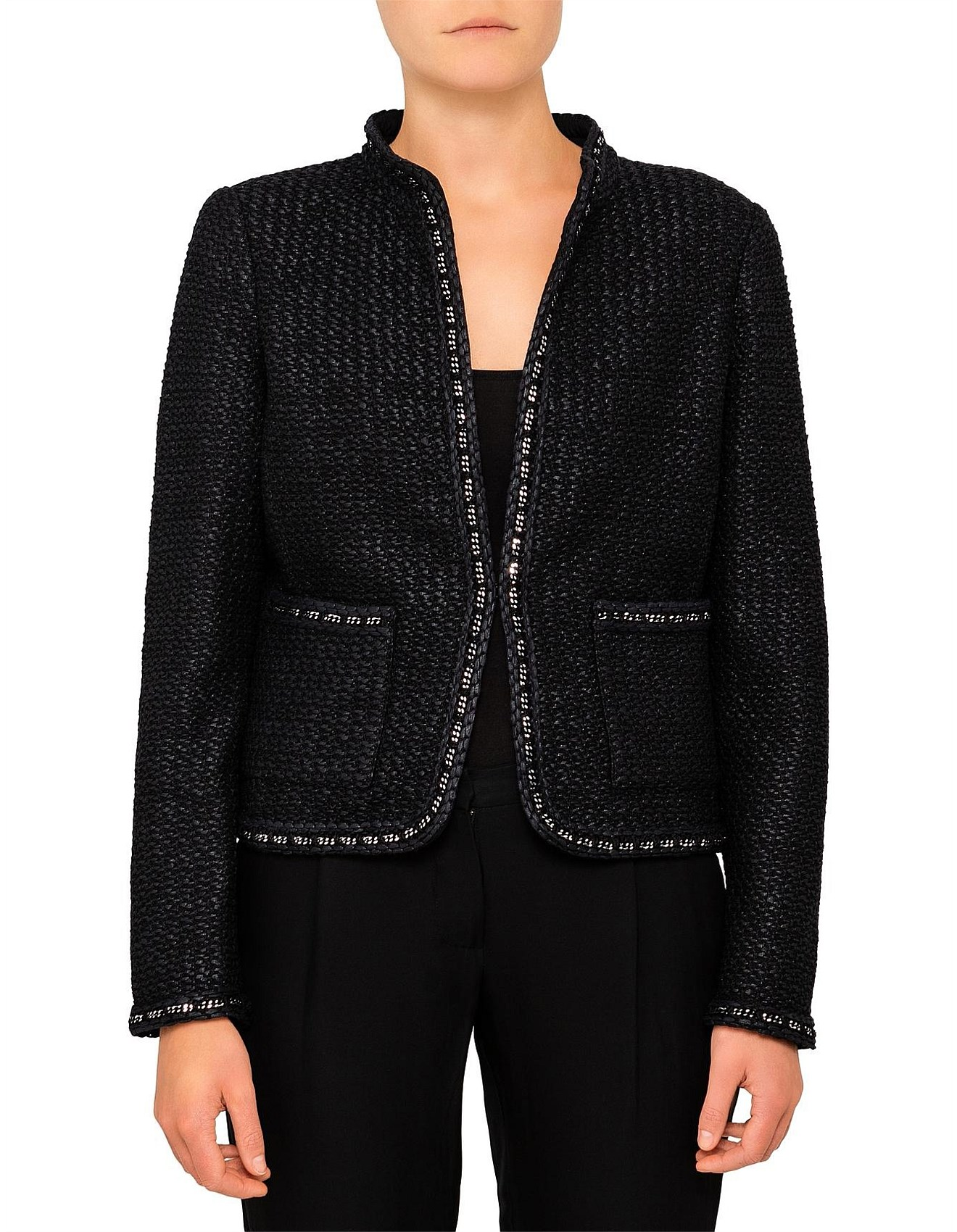 9f22726c1a78a St John - The New Standard Collarless Tweed Jacket With Hardware