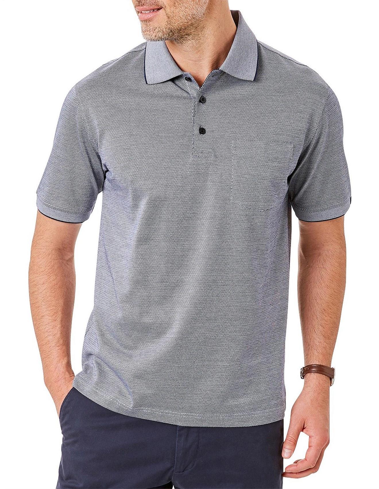 3c49c009 Men's Polo Shirts Sale | Buy Polo Shirts Online | David Jones - GEO JACQUARD  MERCERISED POLO
