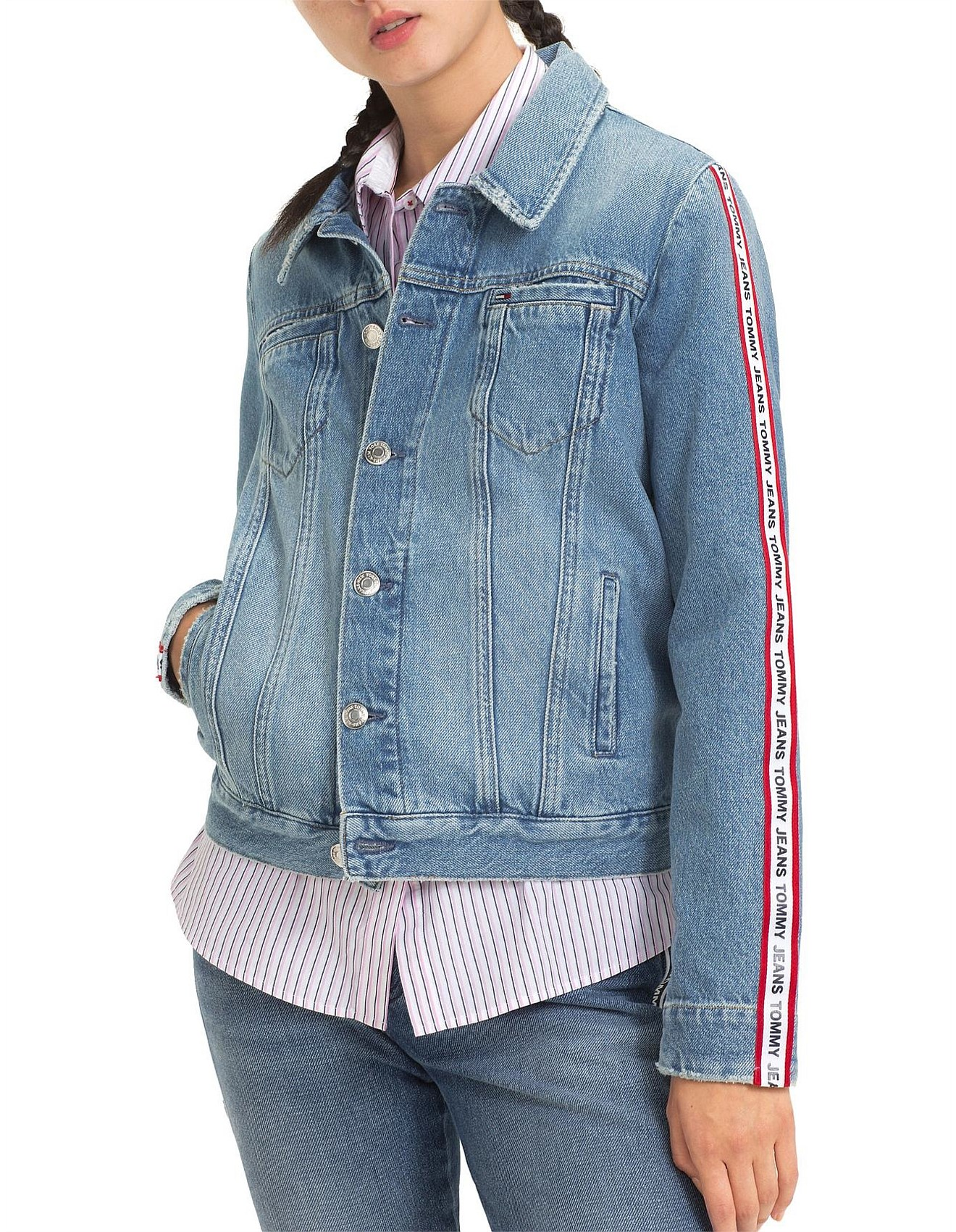 d8d96afb Women's Denim Jackets | Buy Denim Jackets Online | David Jones - Regular  Trucker Jacket With Sleeve Tape