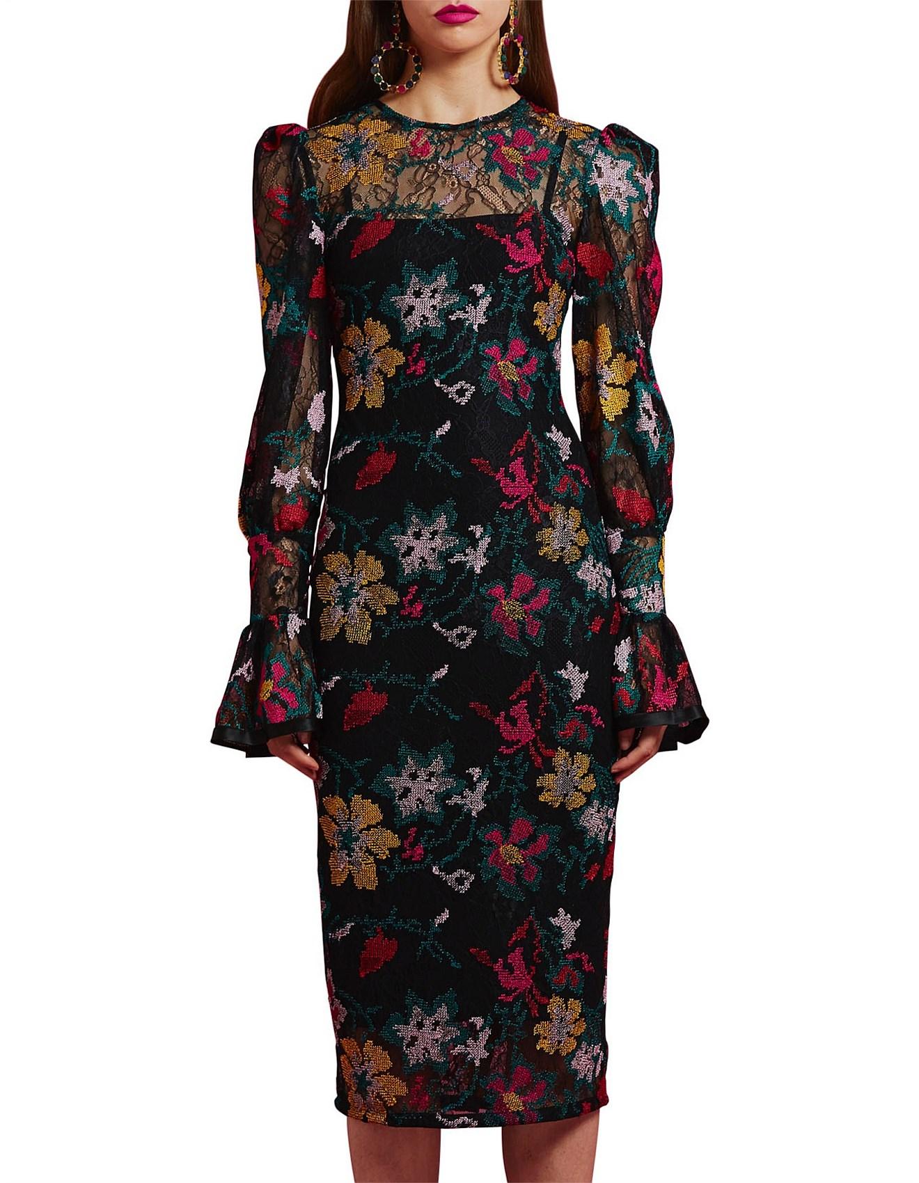 Winter Garden Tulip Sleeve Midi Dress