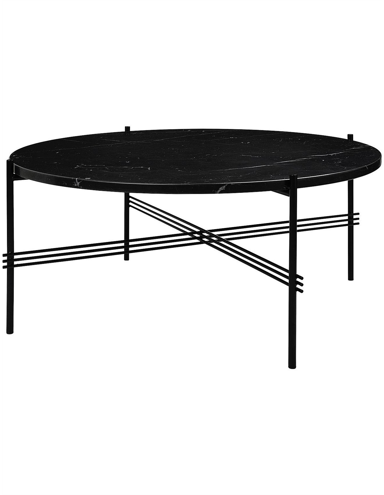 - Tables - TS Coffee Table Round 80cm Nero Marquina Marble (Black)