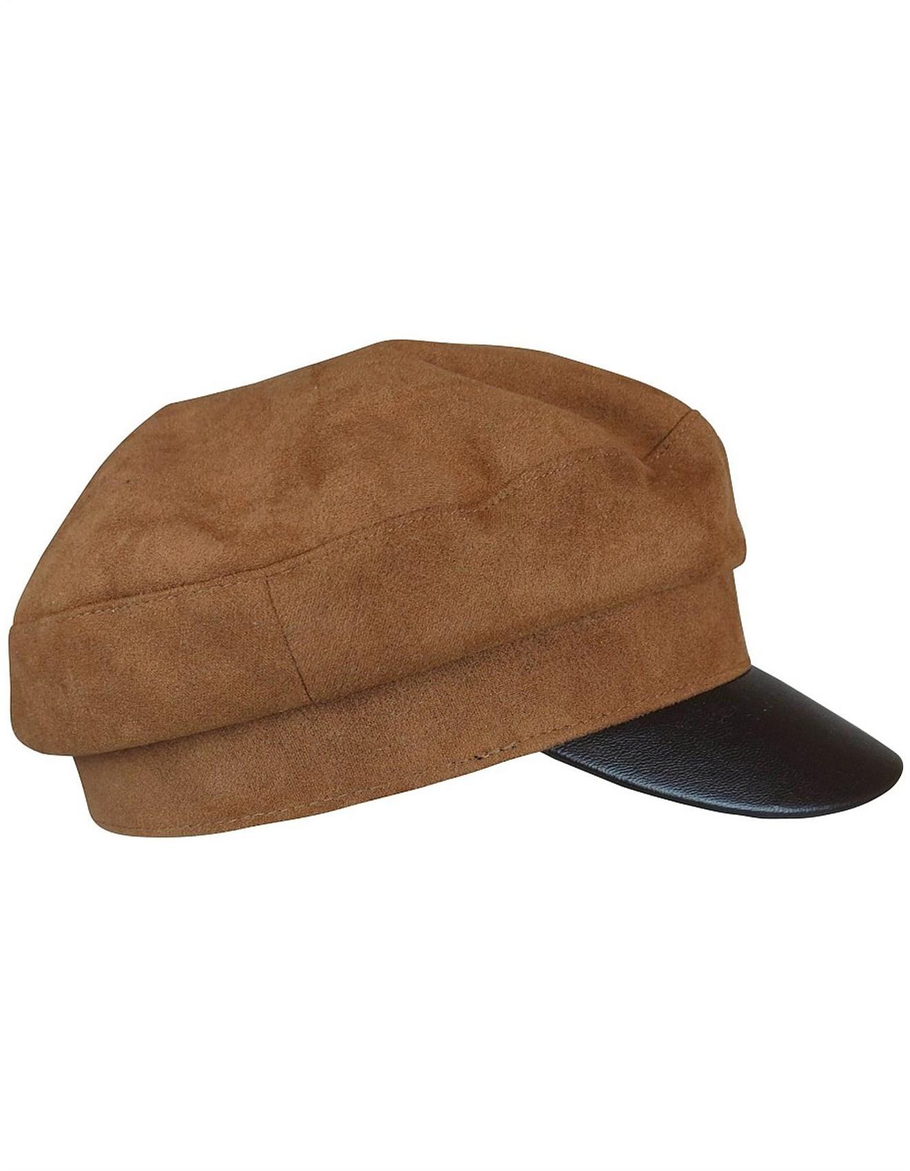 ae324ac7475 Brown suedette cap with PU brim