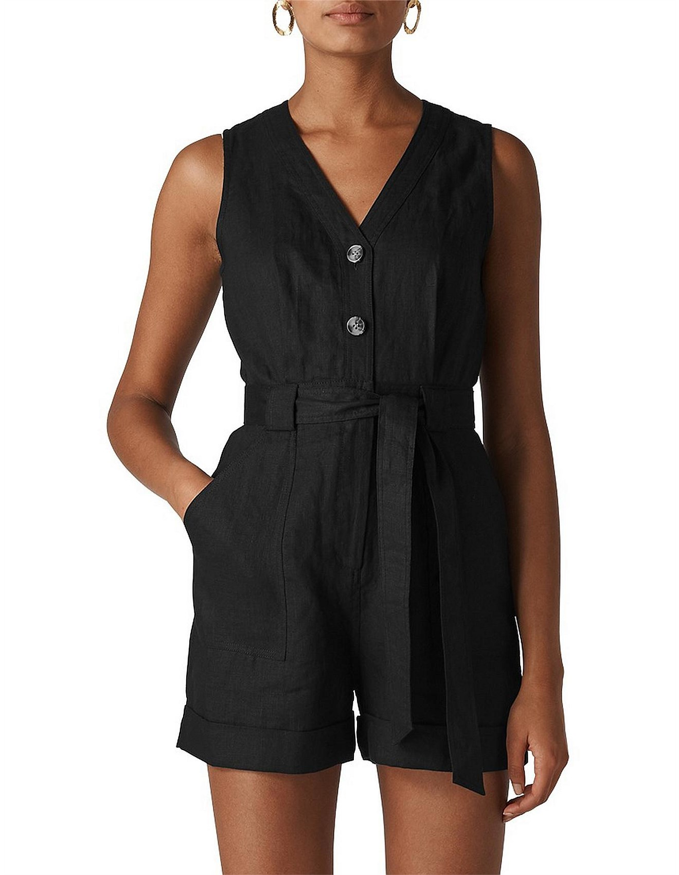 great discount for up-to-datestyling clearance prices LINEN BUTTON PLAYSUIT