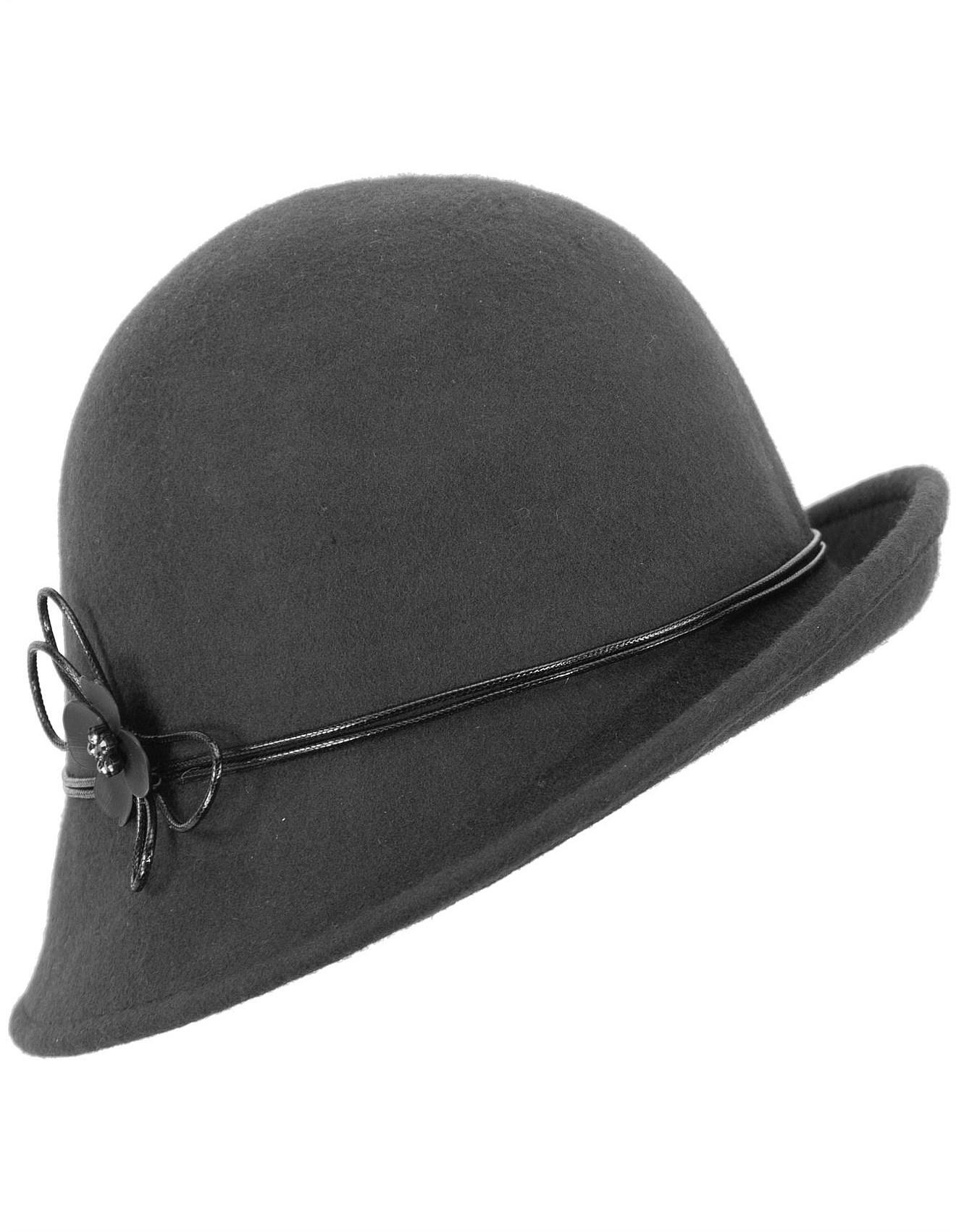 37957f33484d0 Women - Black felt cloche hat with buckle