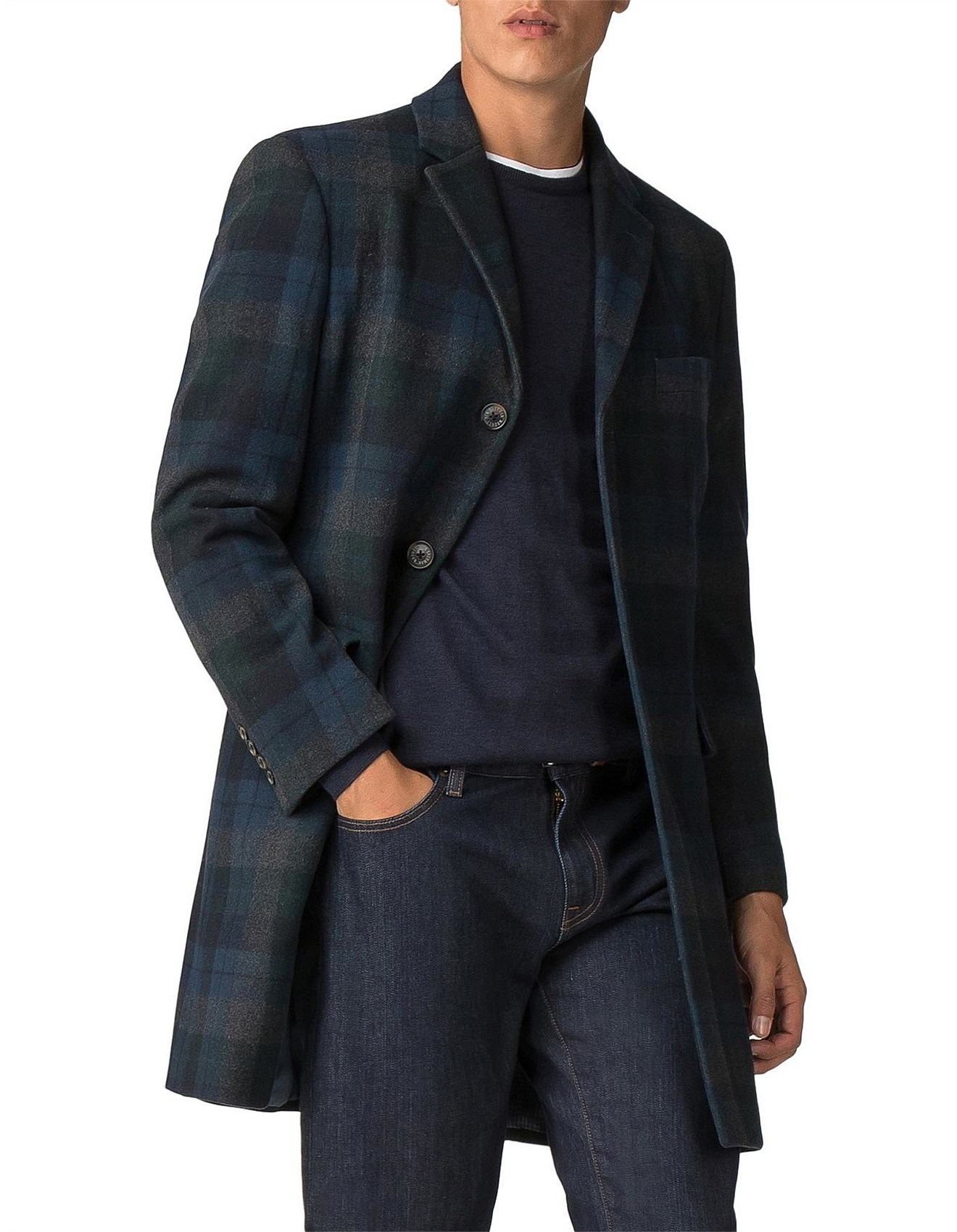 4759981c3d Men's Jackets & Coats | Leather Jackets Online | David Jones - STATEMENT  CHECK COAT DARK GREEN