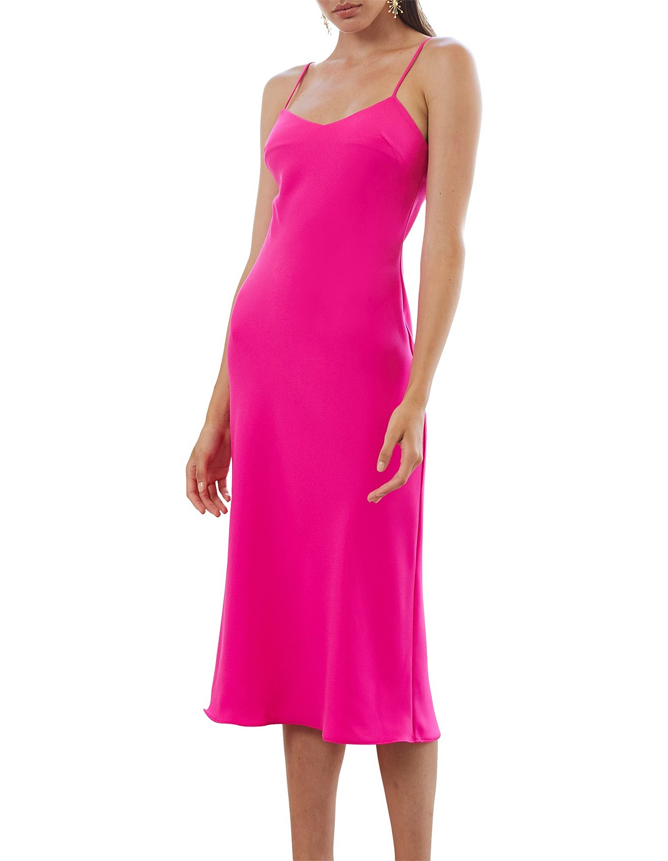 Neon Bias Slip Midi Dress