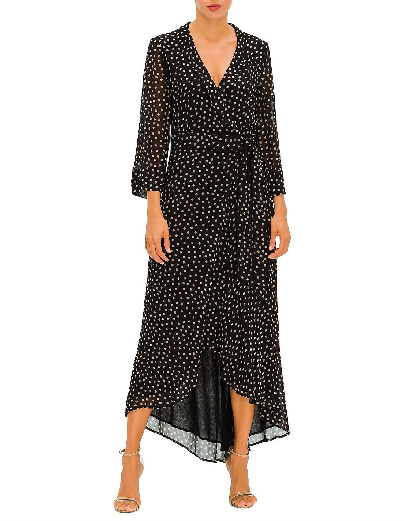 Printed Georgette long wrap dress long sleeves with belt
