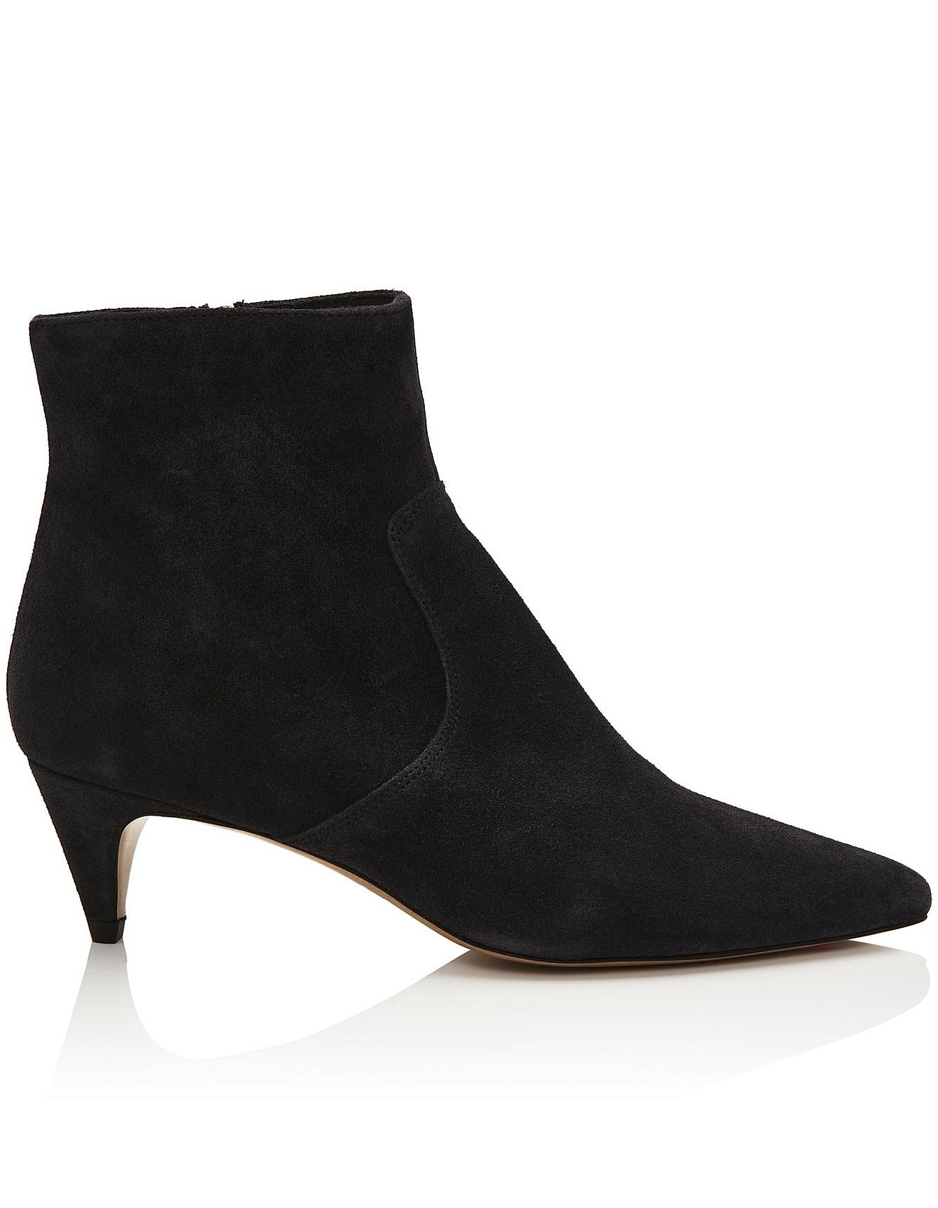 DERST faded black suede heeled ankle boots