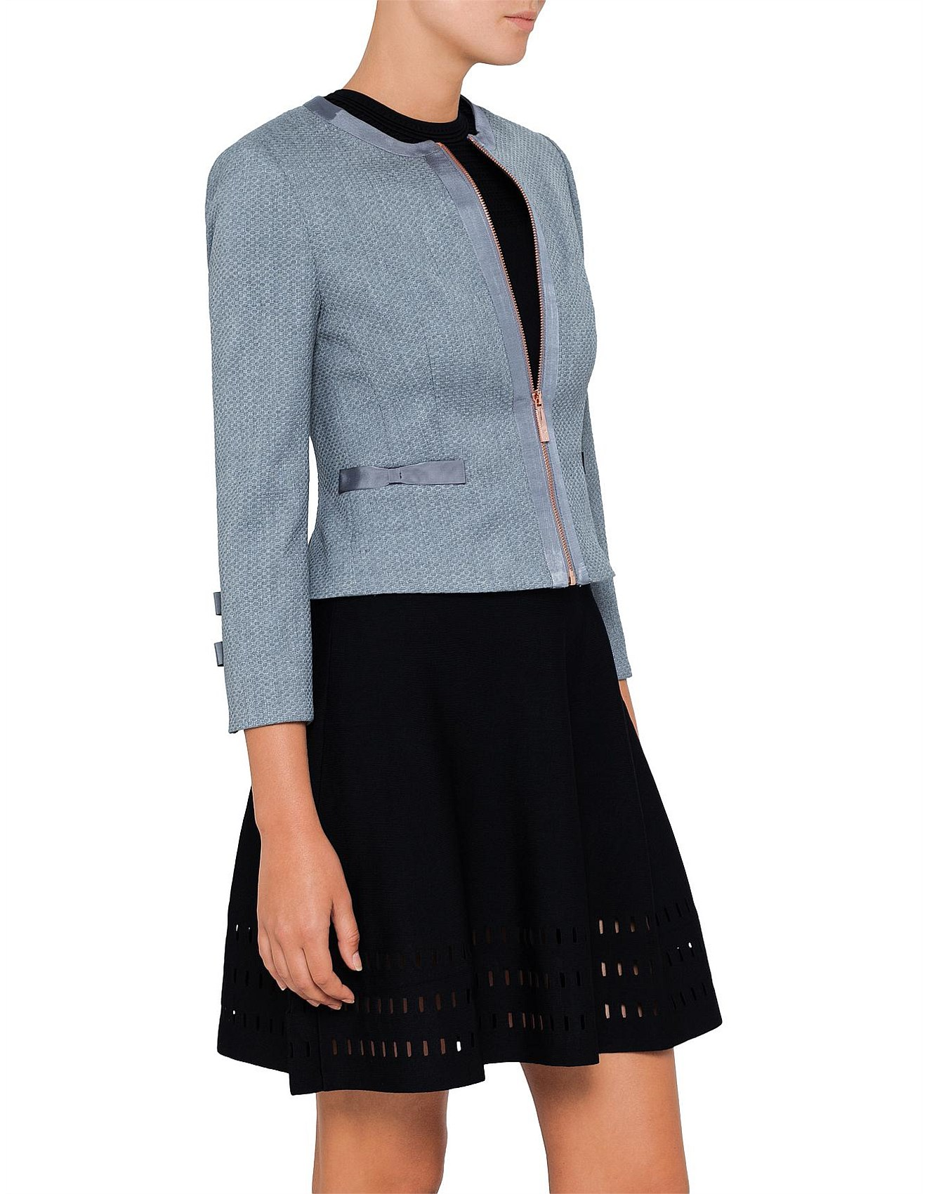 eff6f386beee42 NADAE CROPPED BOW DETAIL JACKET. 1  2  3  4. Zoom. Ted Baker