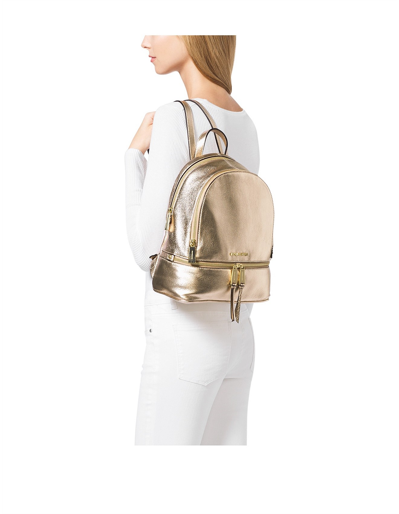 b87cc352ef4c Rhea Metallic Medium Backpack. 1