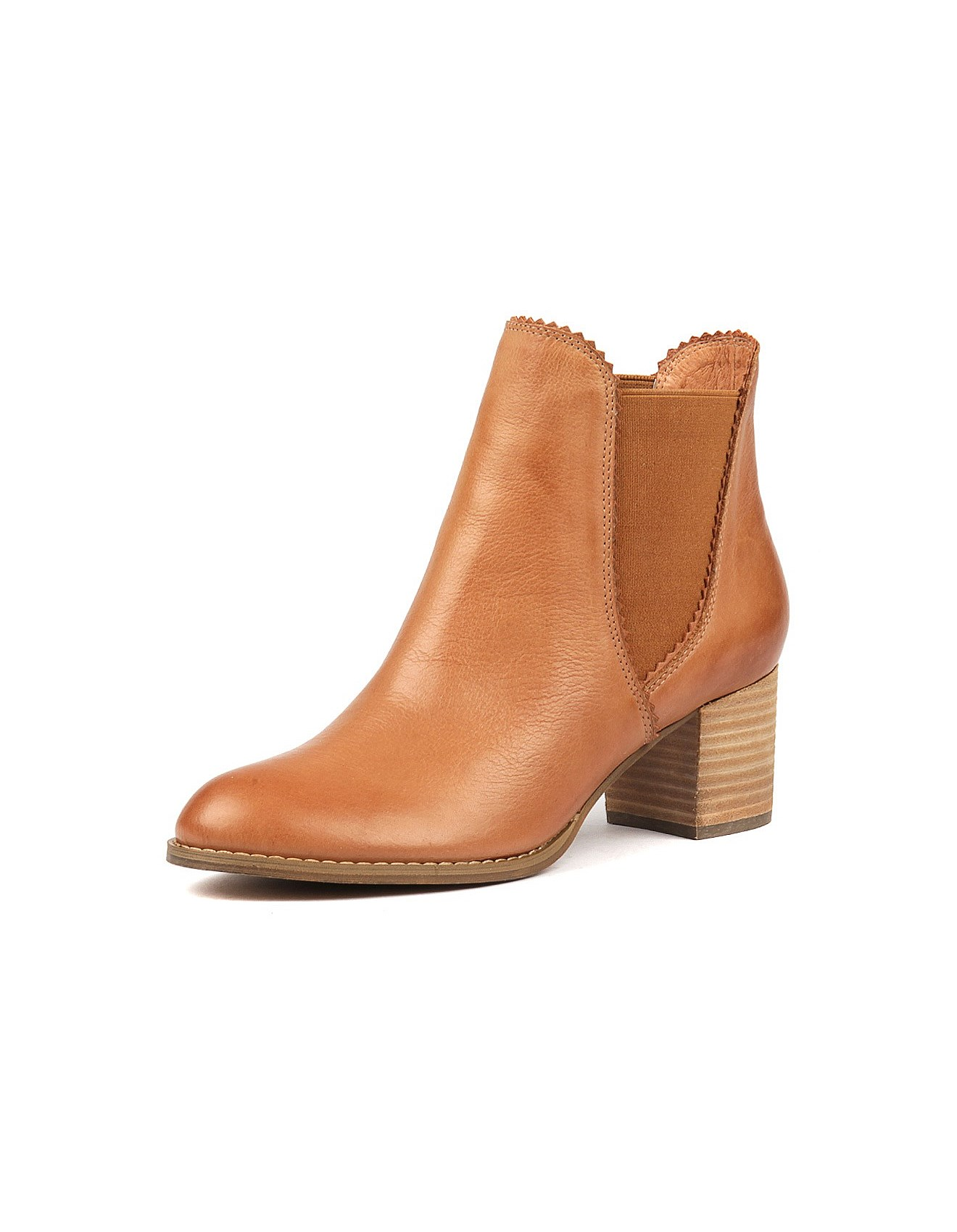Remake Mary Paz Size 38 5 Tan Tobacco Brown Leather Ankle