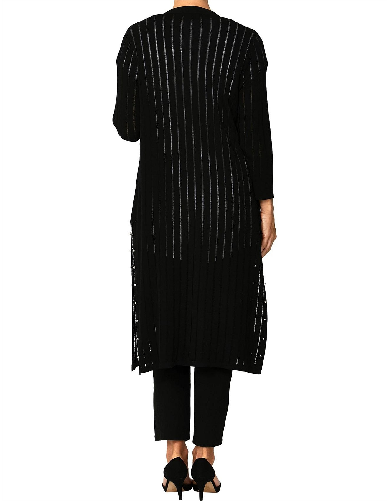 848e06eb62 Long Line Stud Trim Cardigan. 1
