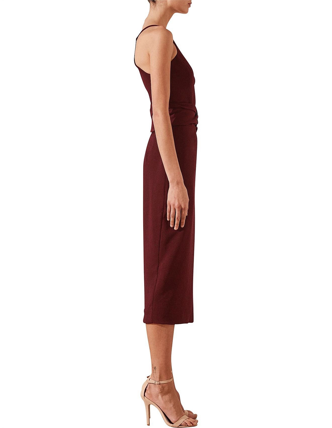 Andrea One Shoulder Fitted Midi Dress With Belt