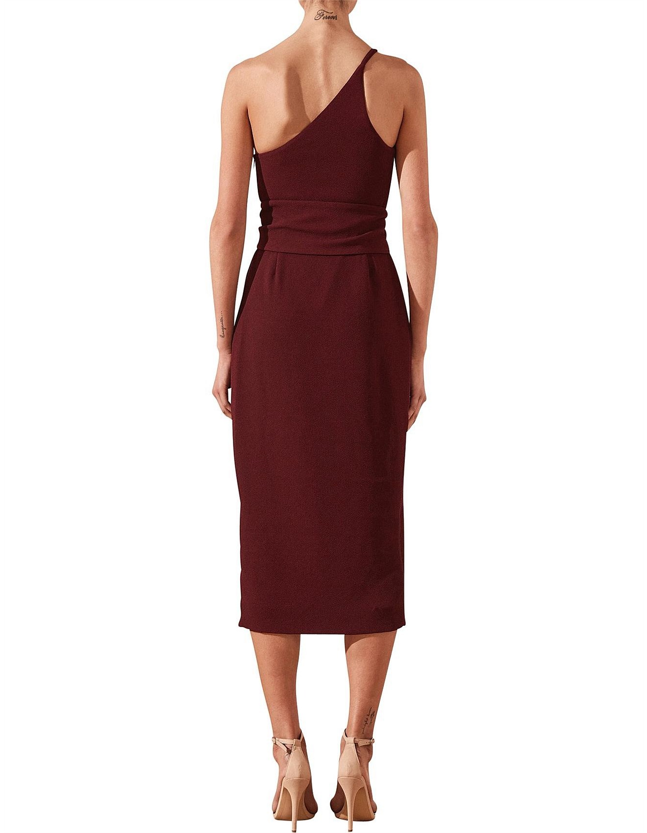 Women - Andrea One Shoulder Fitted Midi Dress With Belt
