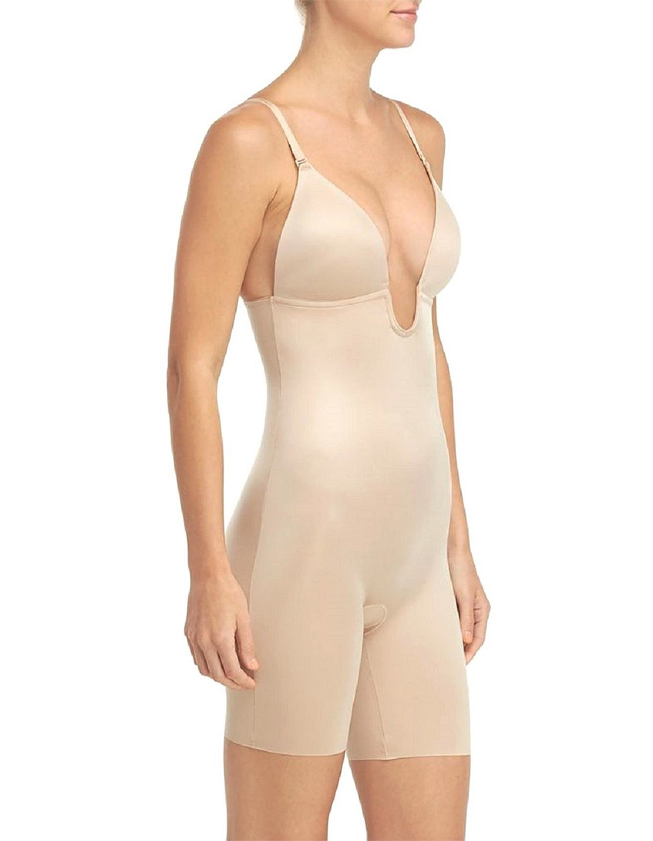 5612e59283e SUIT YOUR FANCY PLUNGE LOW BACK MID THIGH BODYSUIT Special Offer. 1
