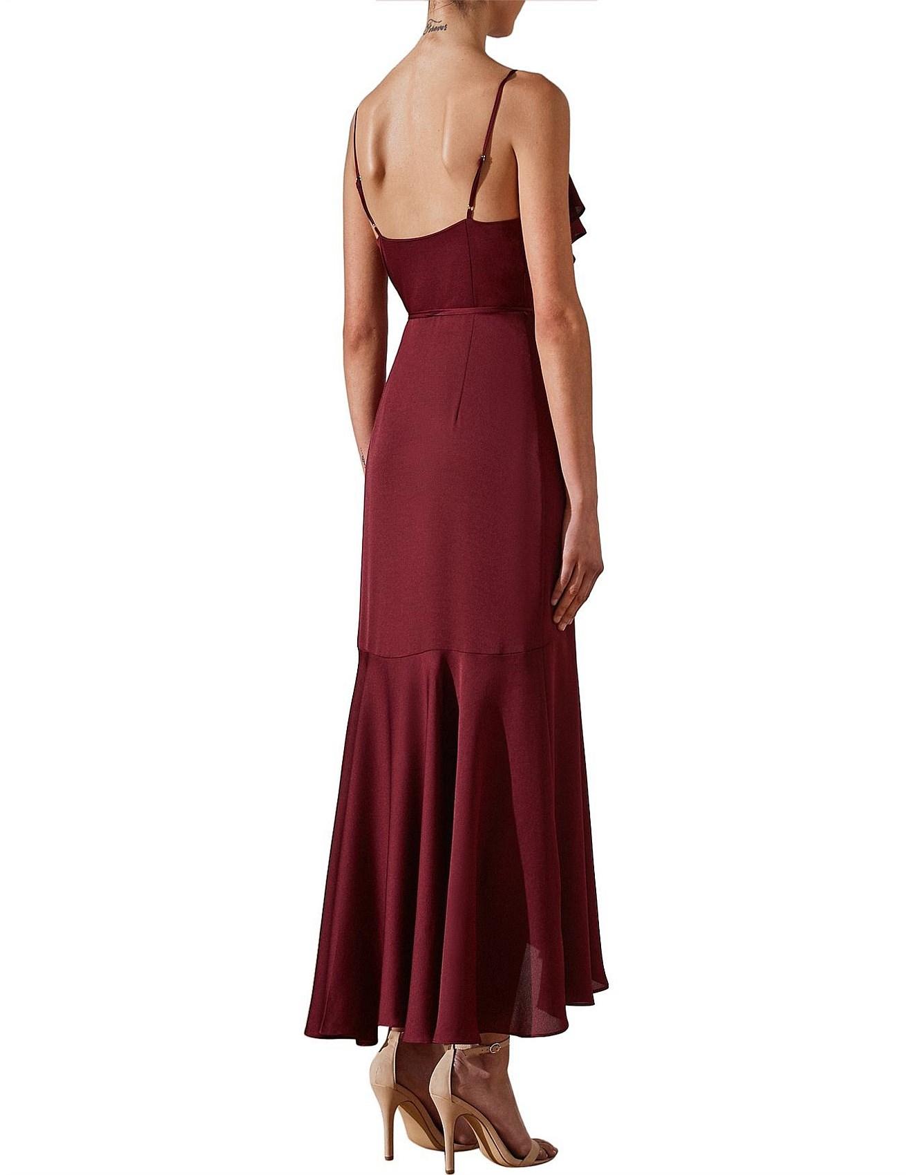 1992a614ba Bias Frill Wrap Dress Garnet. 1
