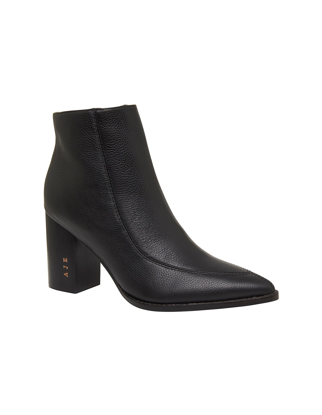 Freedom Black Leather Heeled Ankle Boot