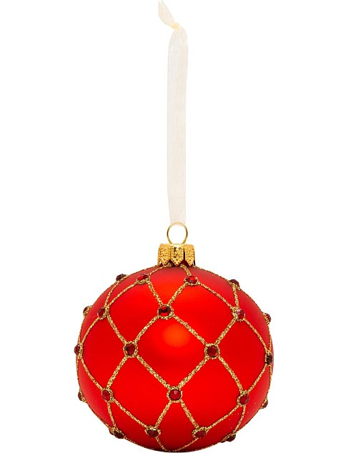 8CM BAUBLE GLASS CRISS CROSS BEADED RED