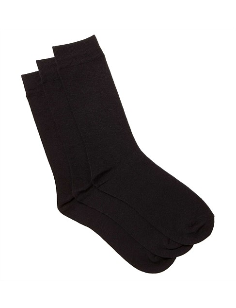 Plain Business Crew Socks Pack of Three
