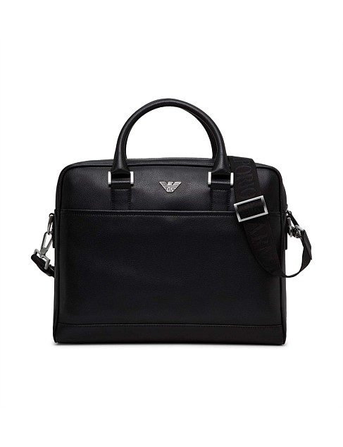 New Fast Stamped Leather Single Zip Briefcase