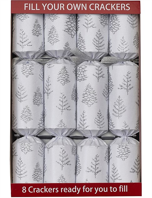 CRACKERS - Fill Your Own Xmas Tree White/Silver 8PC