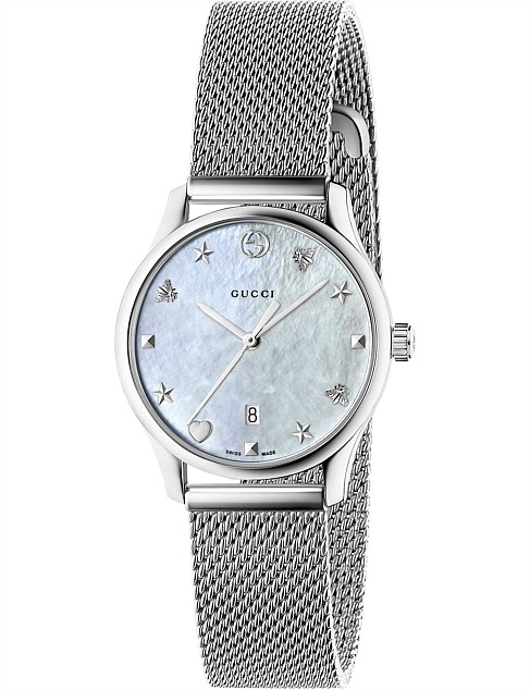 G-Timeless 29mm Mother of Pearl Dial Steel Mesh Watch