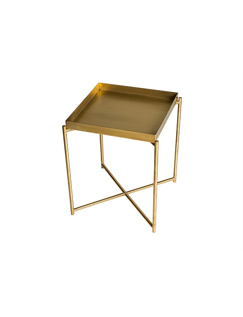 Iris' Brass Side Table with tray